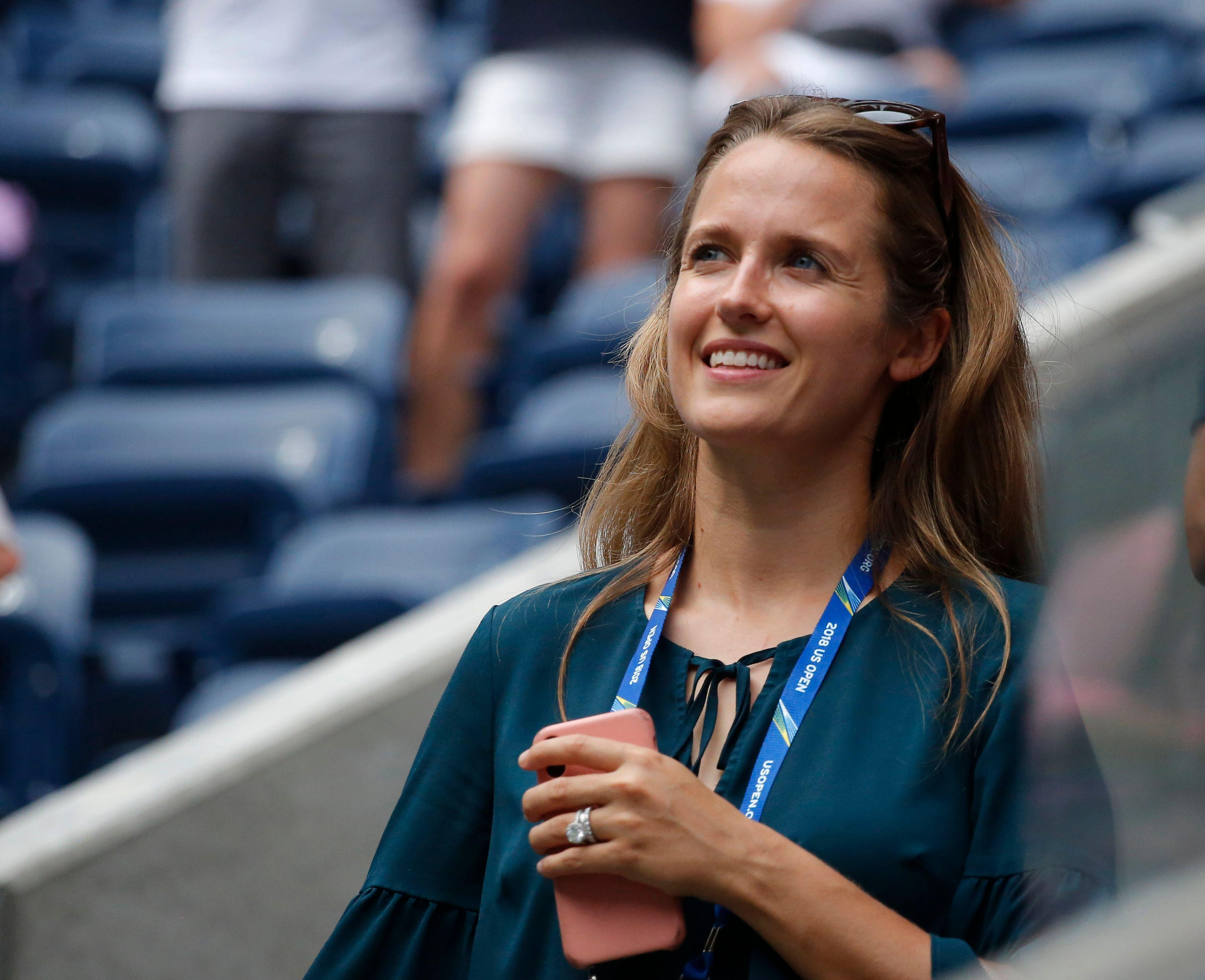 Andy Murray's wife Kim watches him from the stands at the US Open