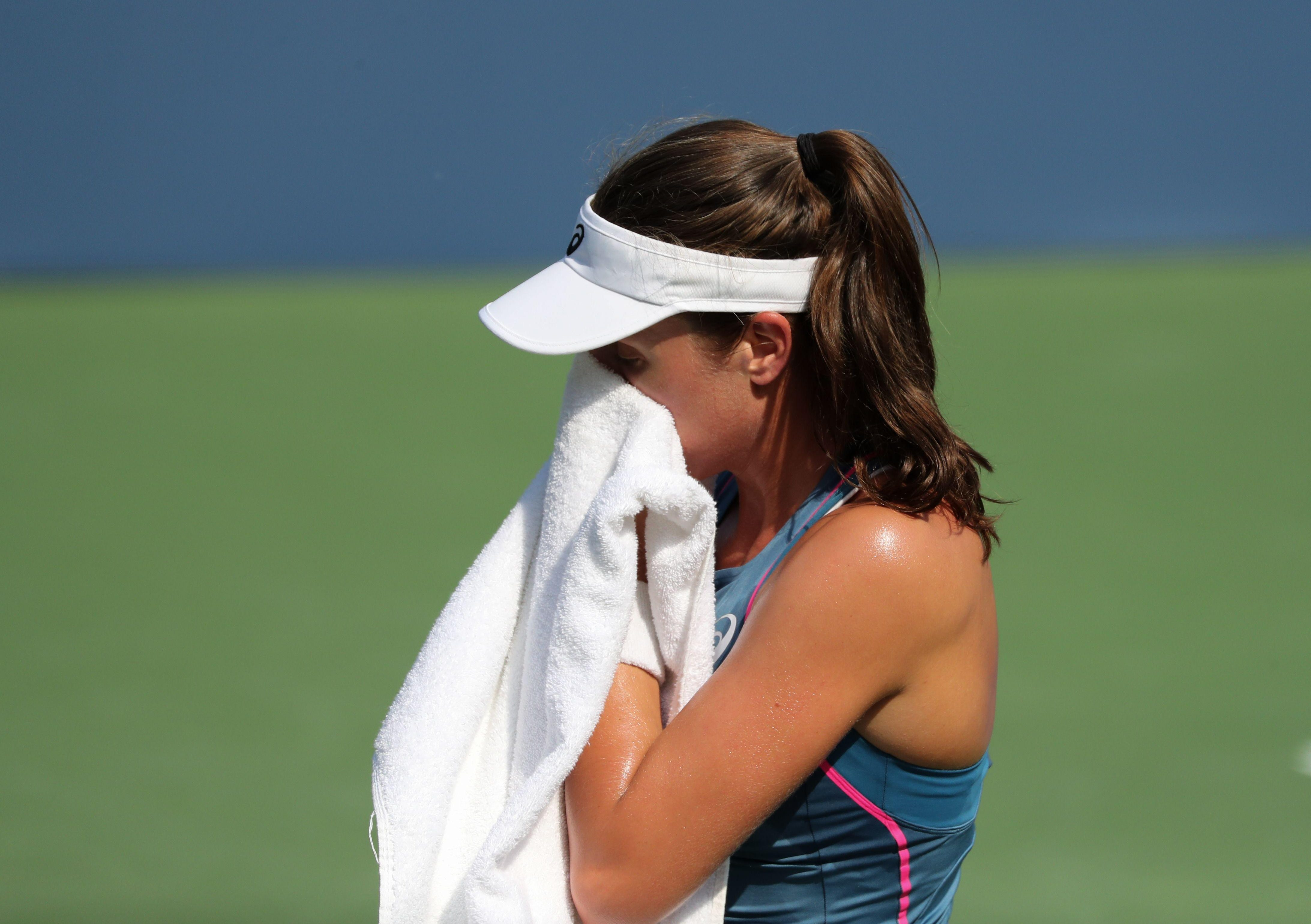 Johanna Konta suffered a heavy defeat in her first-round match at the US Open