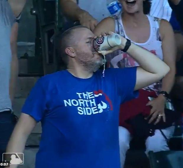 The lucky Cubs supporter probably had plenty of people willing to buy him another beer