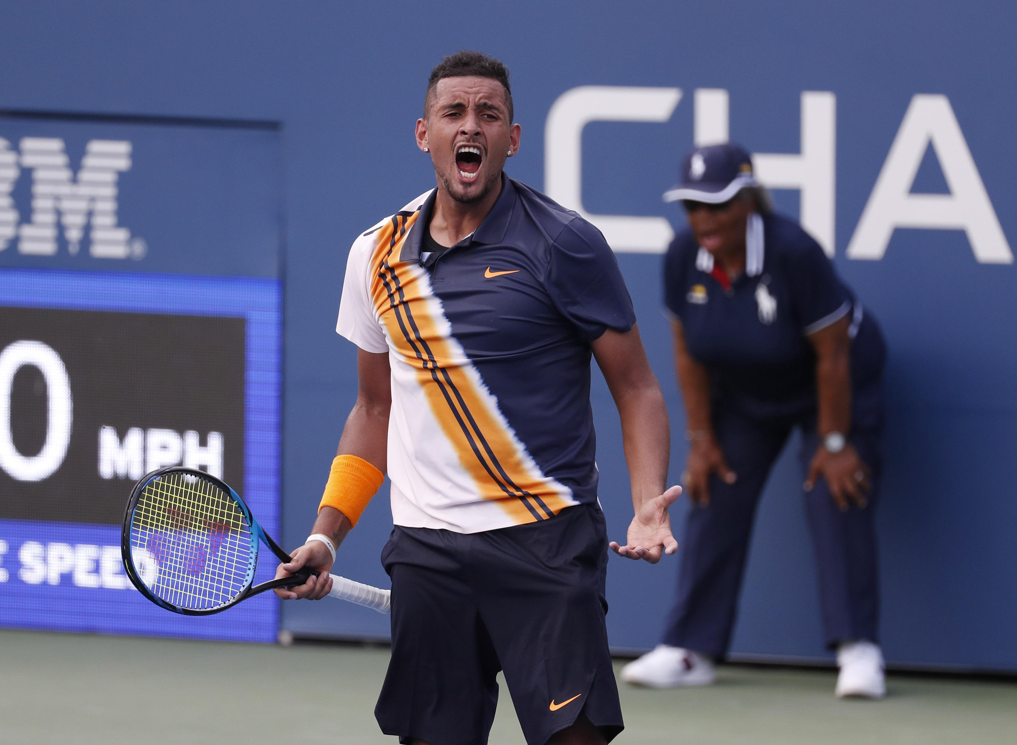 Nick Kyrgios needed a pep-talk from umpire Mohamed Lahyani to inspire him to continue
