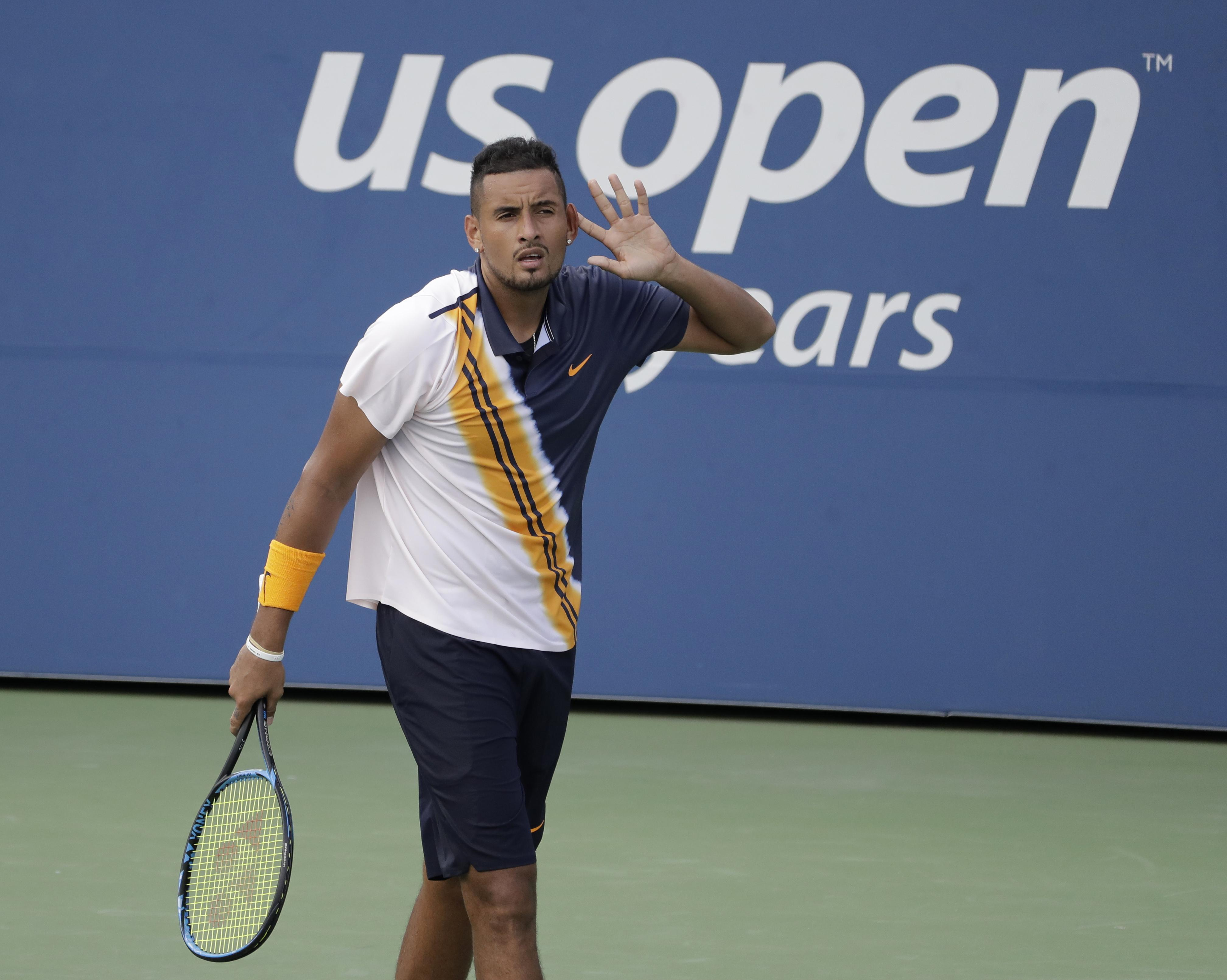Nick Kyrgios was booed by the US Open crowd after struggling with the heat during first set