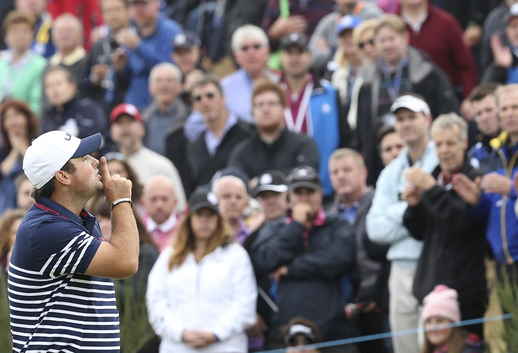 Reed famously told the home fans to shh in the 2014 Ryder Cup at Gleneagles too