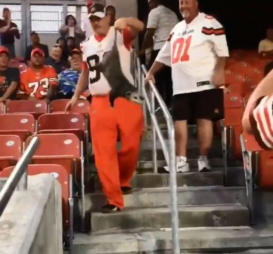 One Cleveland Browns fan managed to snare an escaped possum during the game at FirstEnergy Stadium