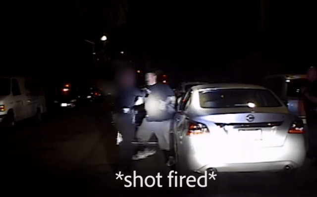 This is the moment a gangster shot a female cop from point blank range in California