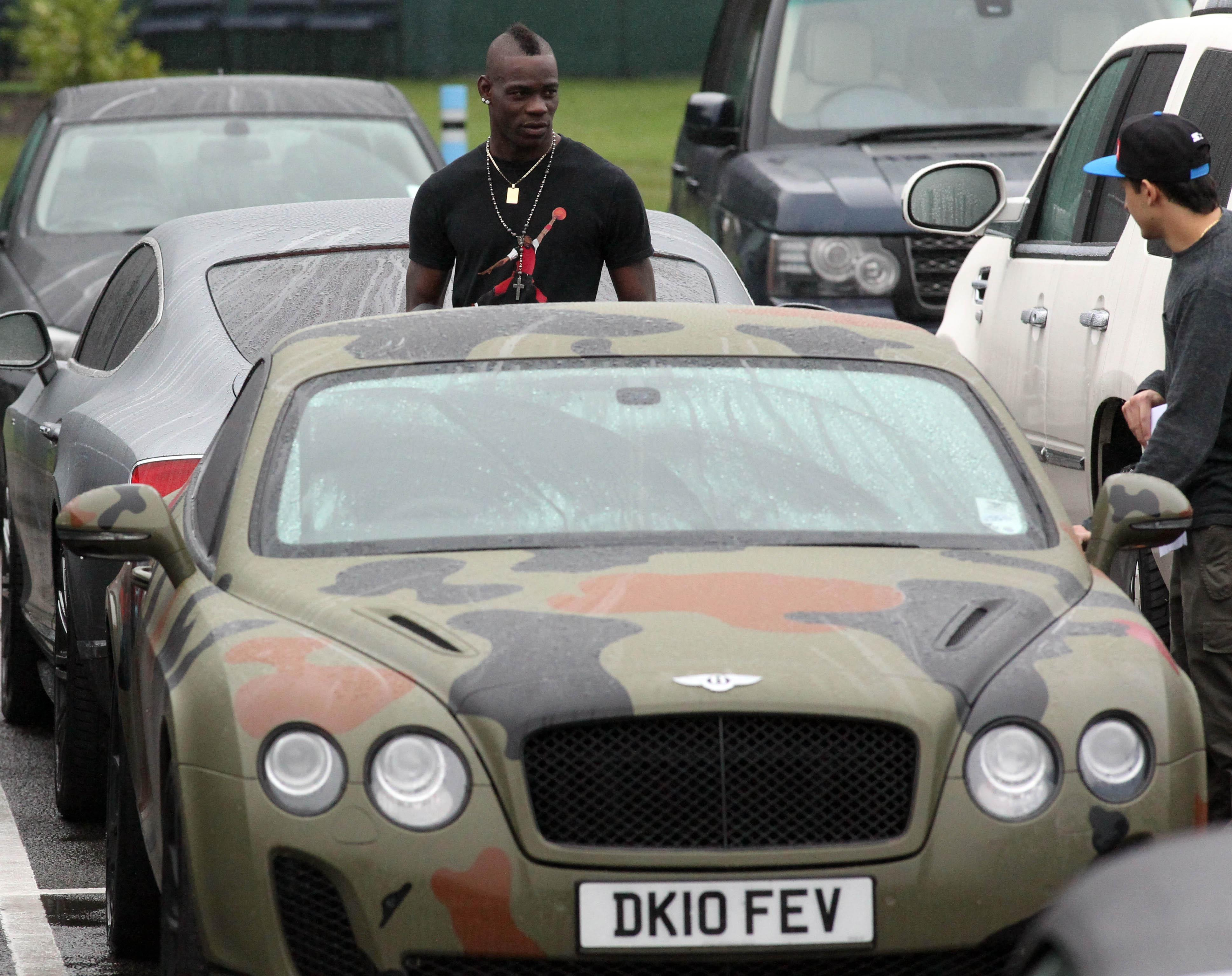 Mario Balotelli's Bentley was a little too camouflaged for Crouch