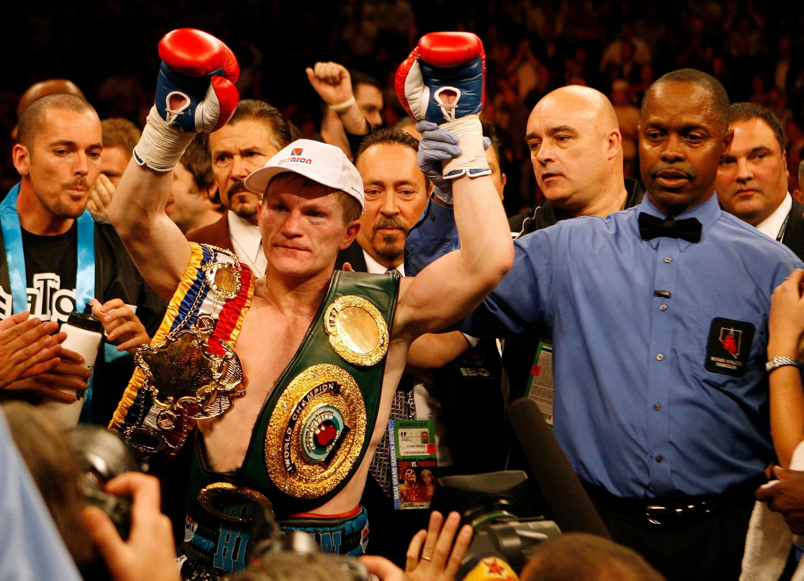 Hatton after beating Paulie Malignaggi in Las Vegas in 2008