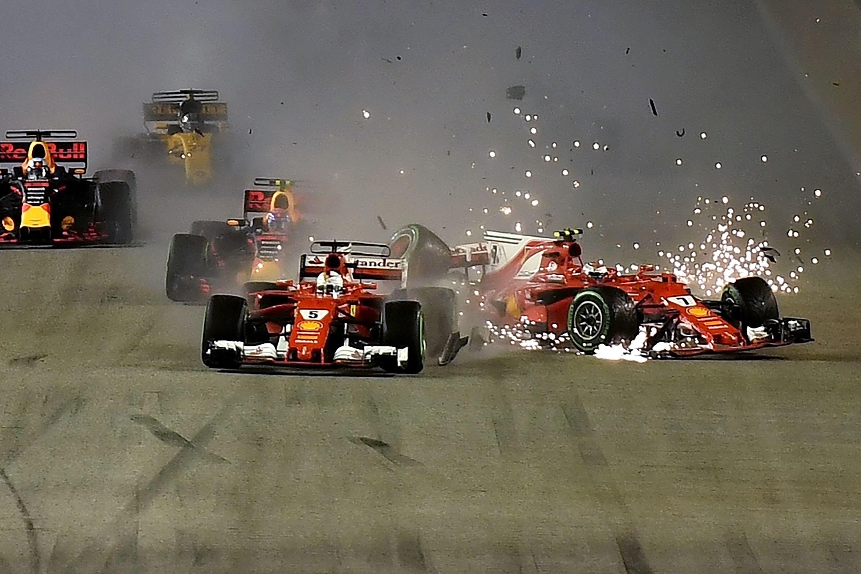 Sebastian Vettel, Kimi Raikkonen and Max Verstappen crashed on lap one last year