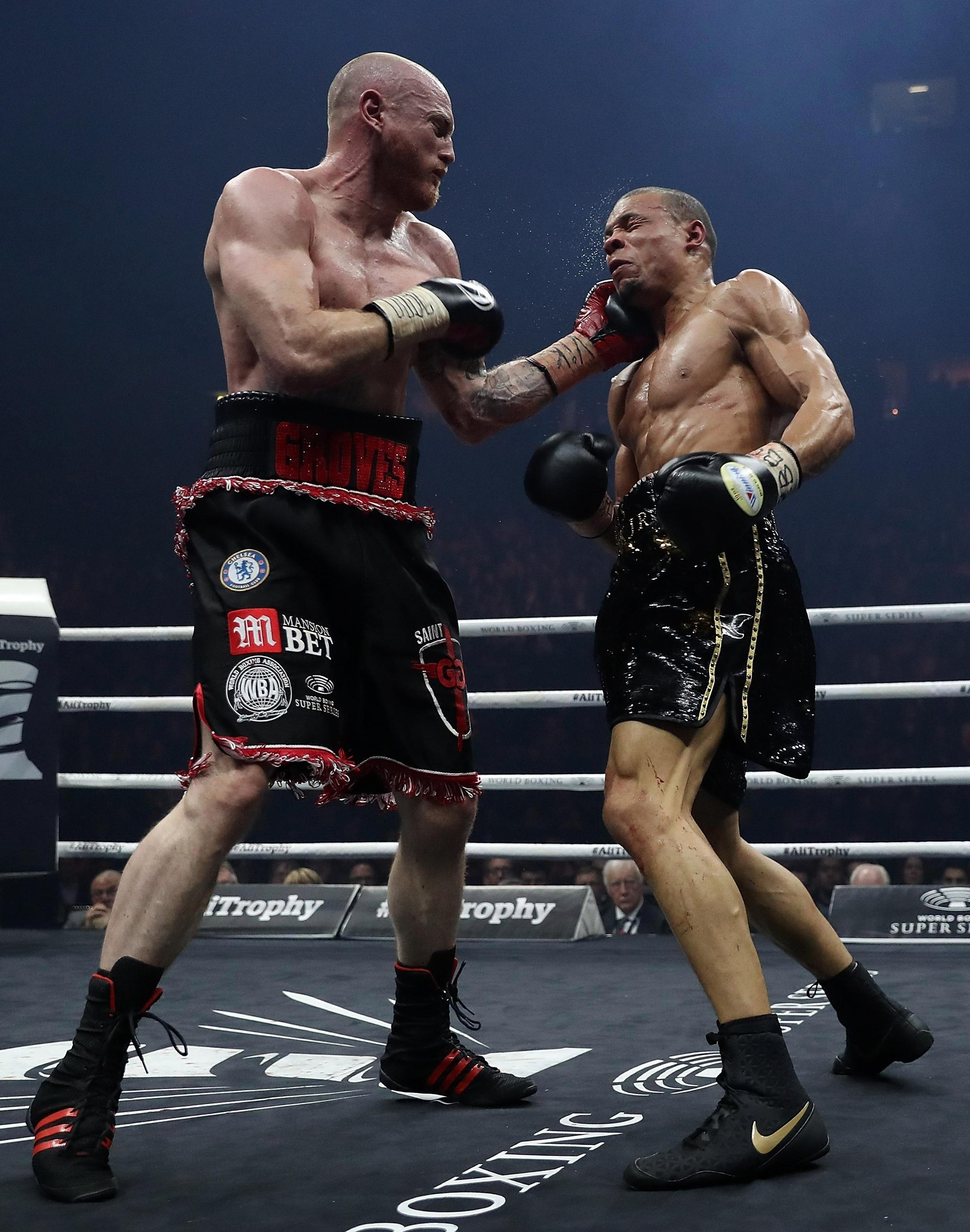 Groves dislocated his left shoulder in his last fight as he outpointed Chris Eubank Jr