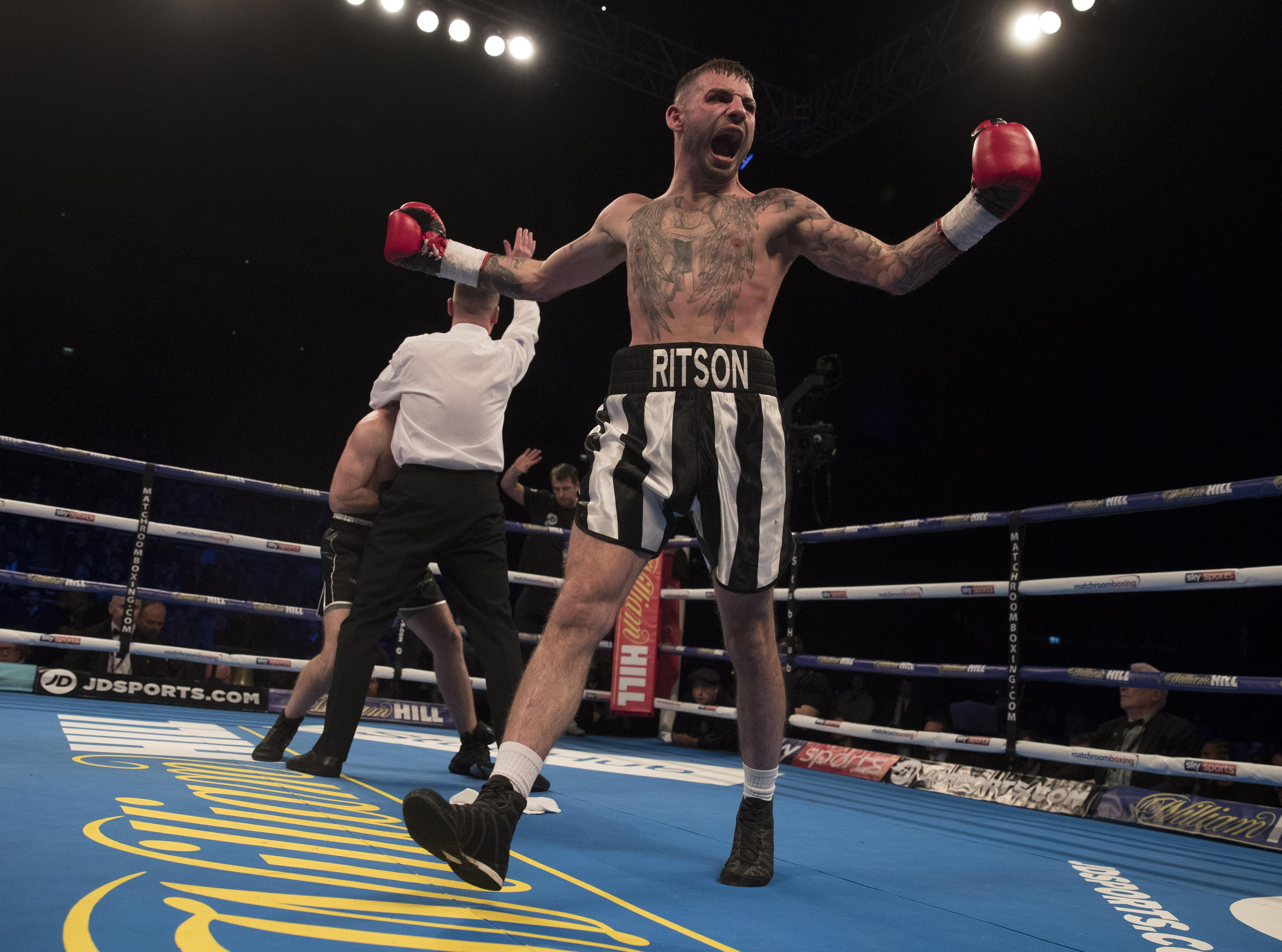 Lewis Ritson erupts after stoppping Scott Cardle in just 2 rounds in second defence of British title