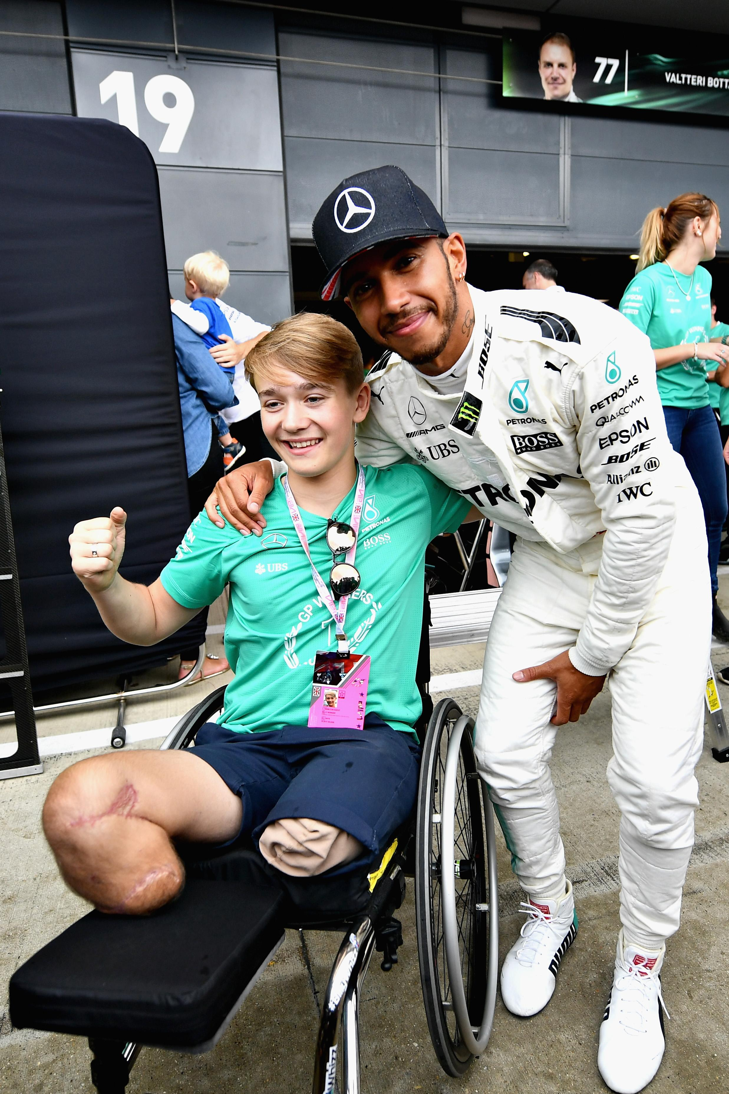 The talented youngster with Lewis Hamilton at Silverstone last year