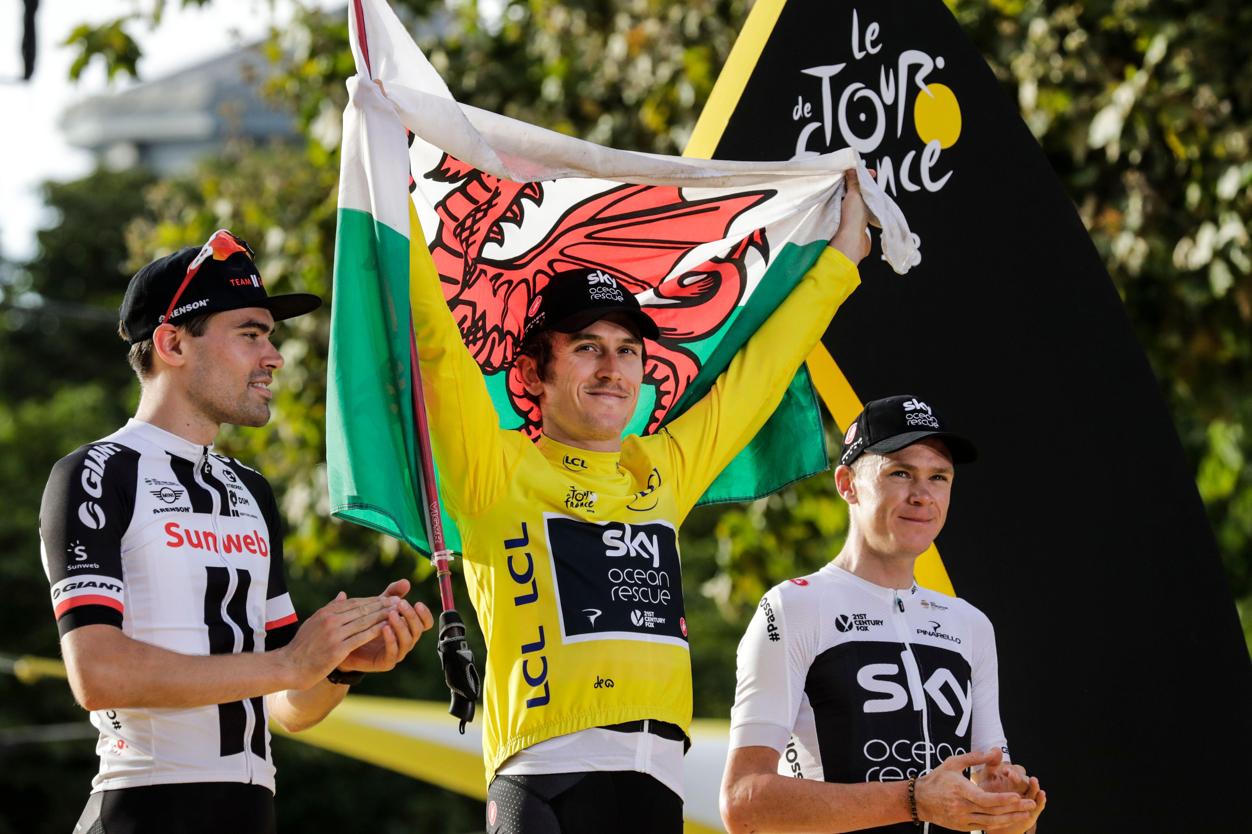 Geraint Thomas celebrated victory at the Tour de France in July