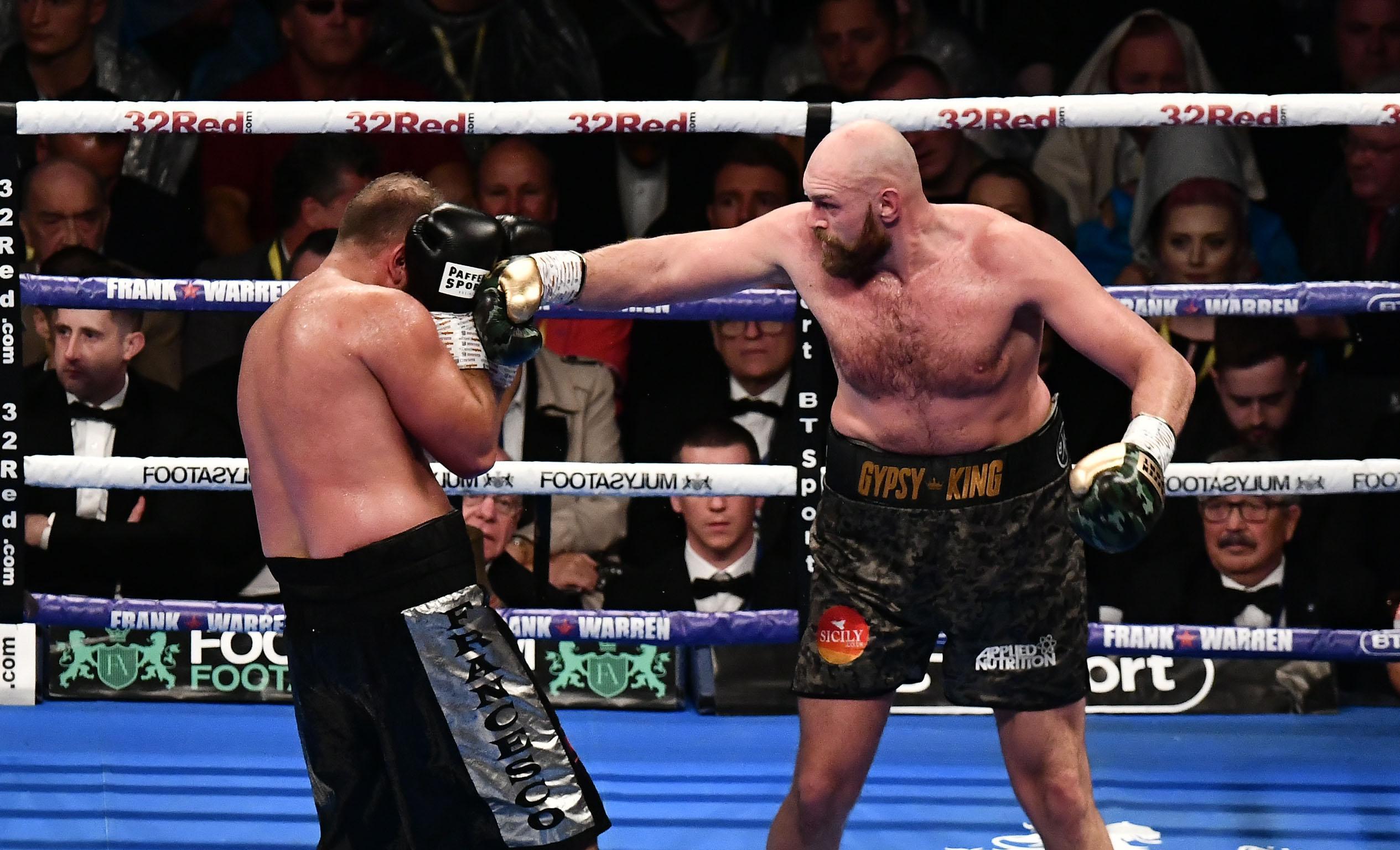 Tyson Fury in action against Francesco Pianeta at Windsor Park, Belfast
