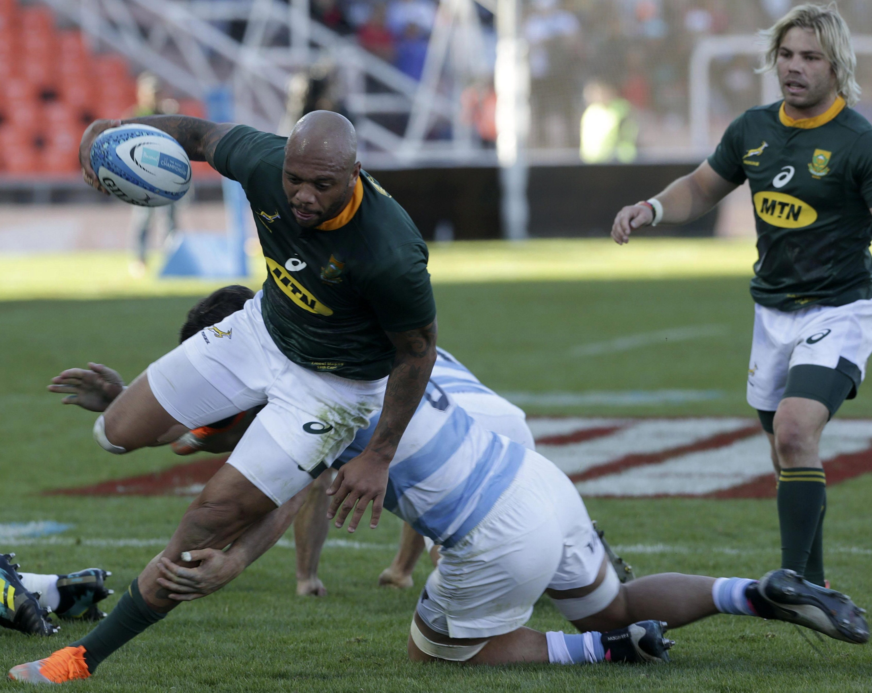 Springbok Lionel Mapoe is tackled in the defeat against Argentina