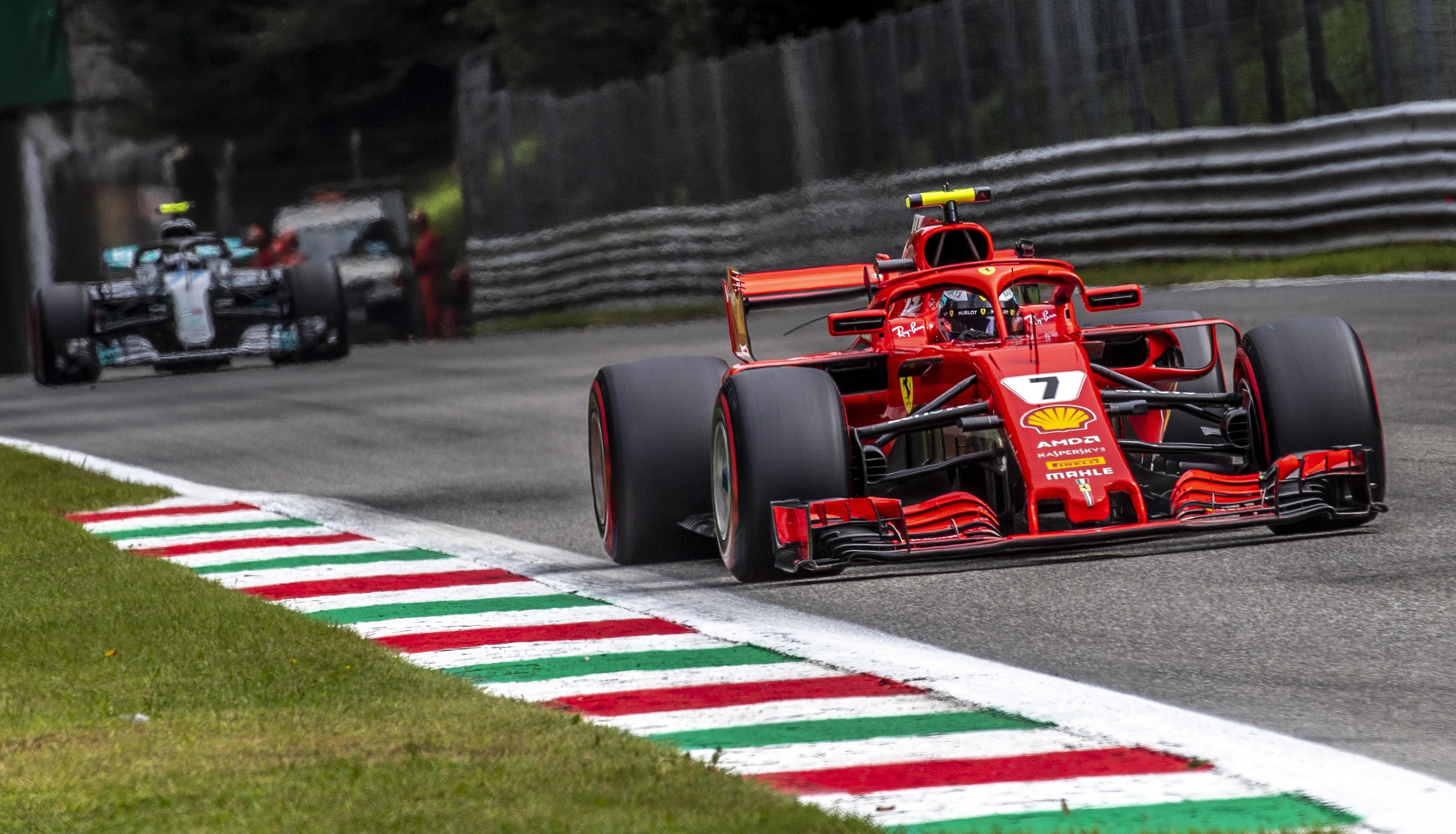 Kimi Raikkonen finished quickest to take pole in the Italian GP qualifying