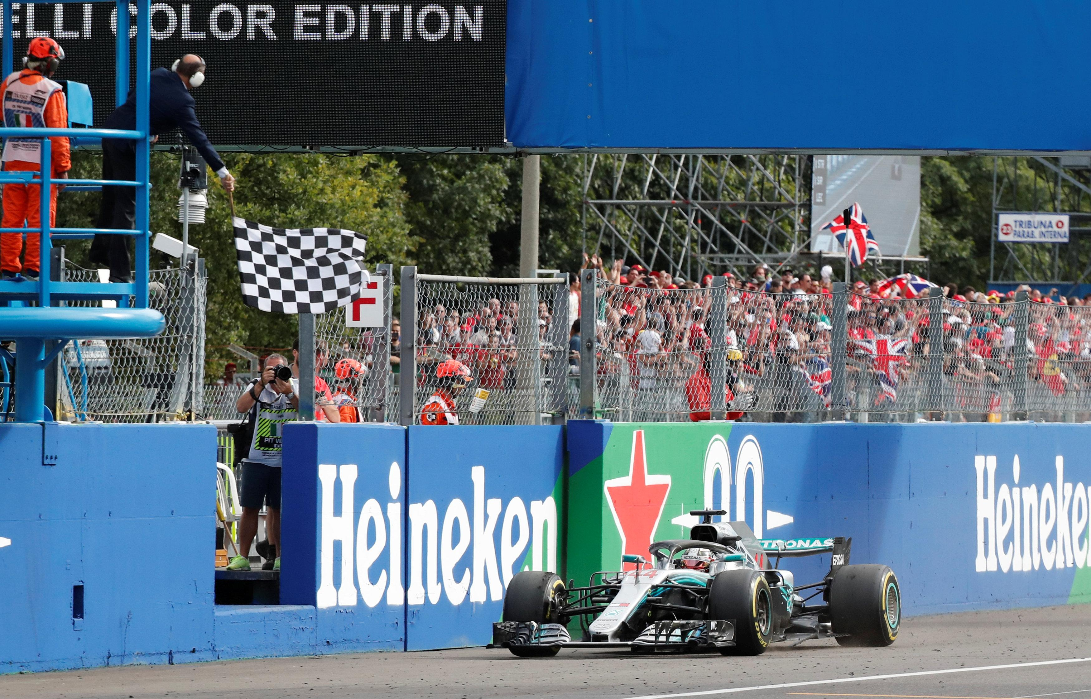 Hamilton took the chequered flag for victory to disappoint the fanatic Ferrari supporters