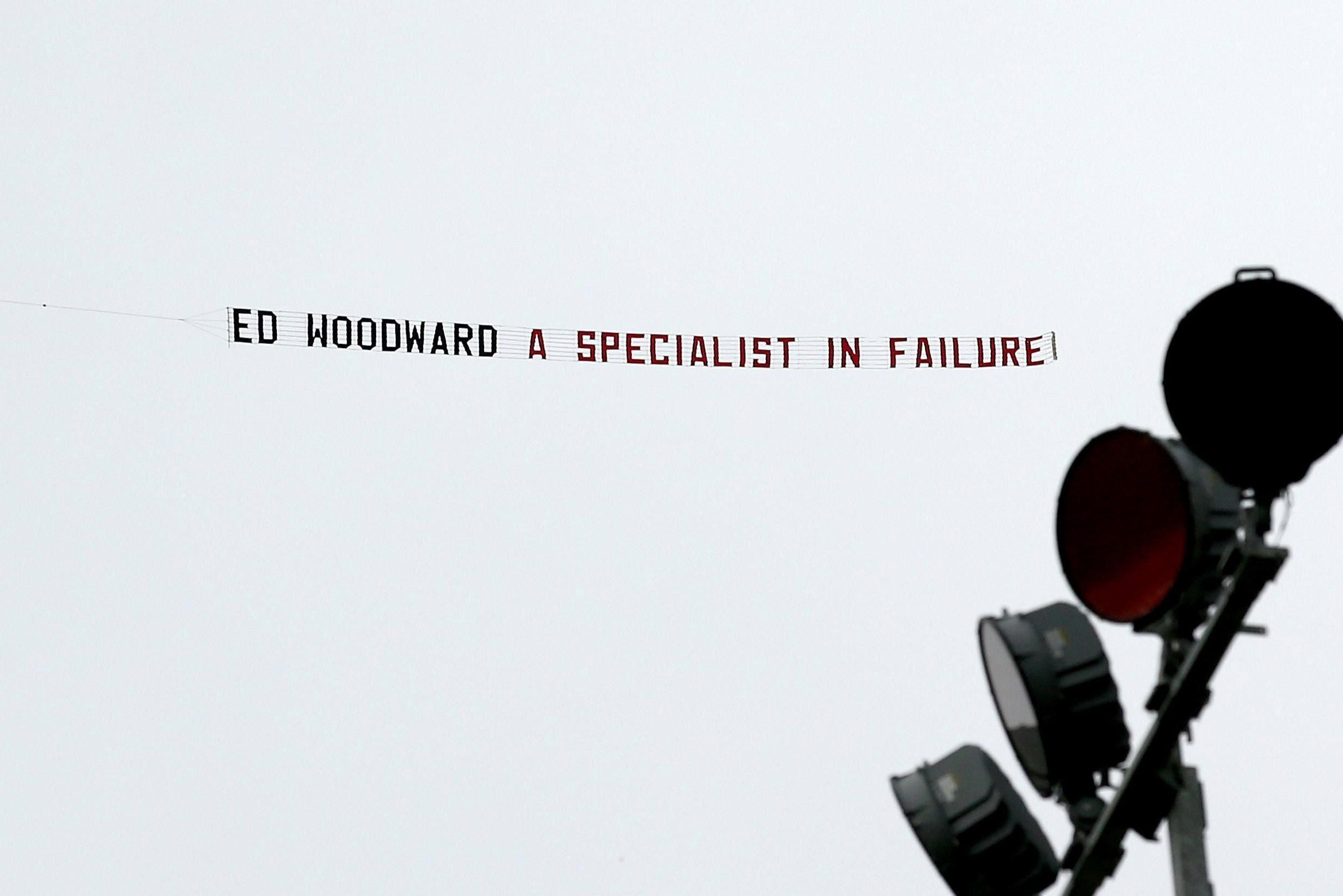 Man United fans flew a banner over Turf Moor in protest of Ed Woodward