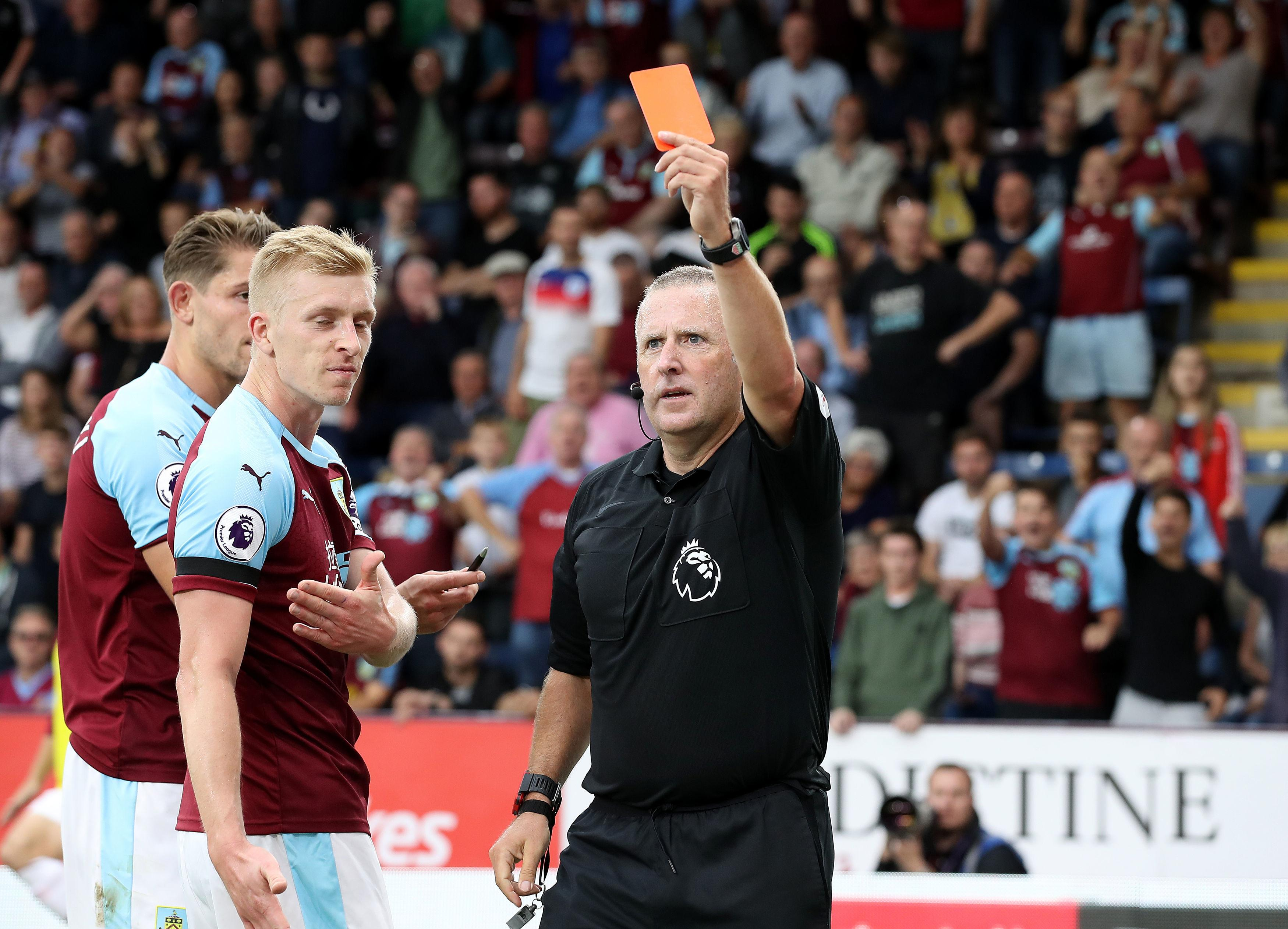 Referee Jonathan Moss wasted no time in showing the hotshot a red card