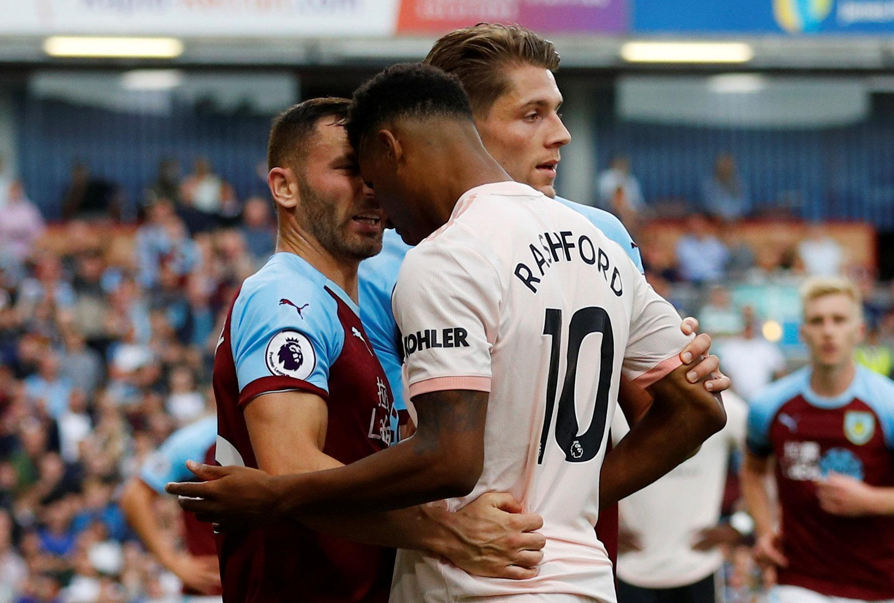 Rashford was given his marching orders after appearing to headbutt Bardsley