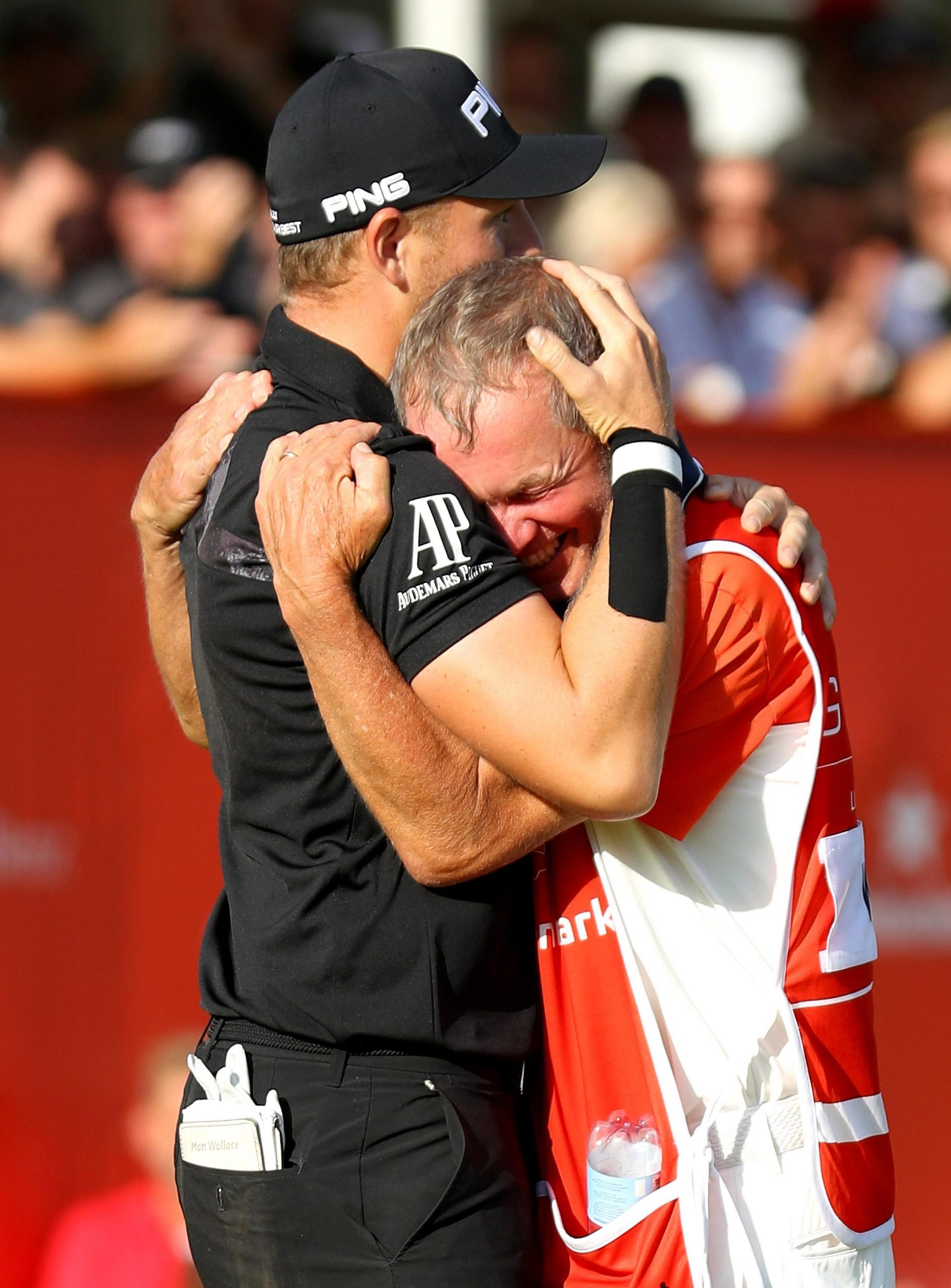 Matt Wallace shares his play-off victory joy in Denmark with his caddie