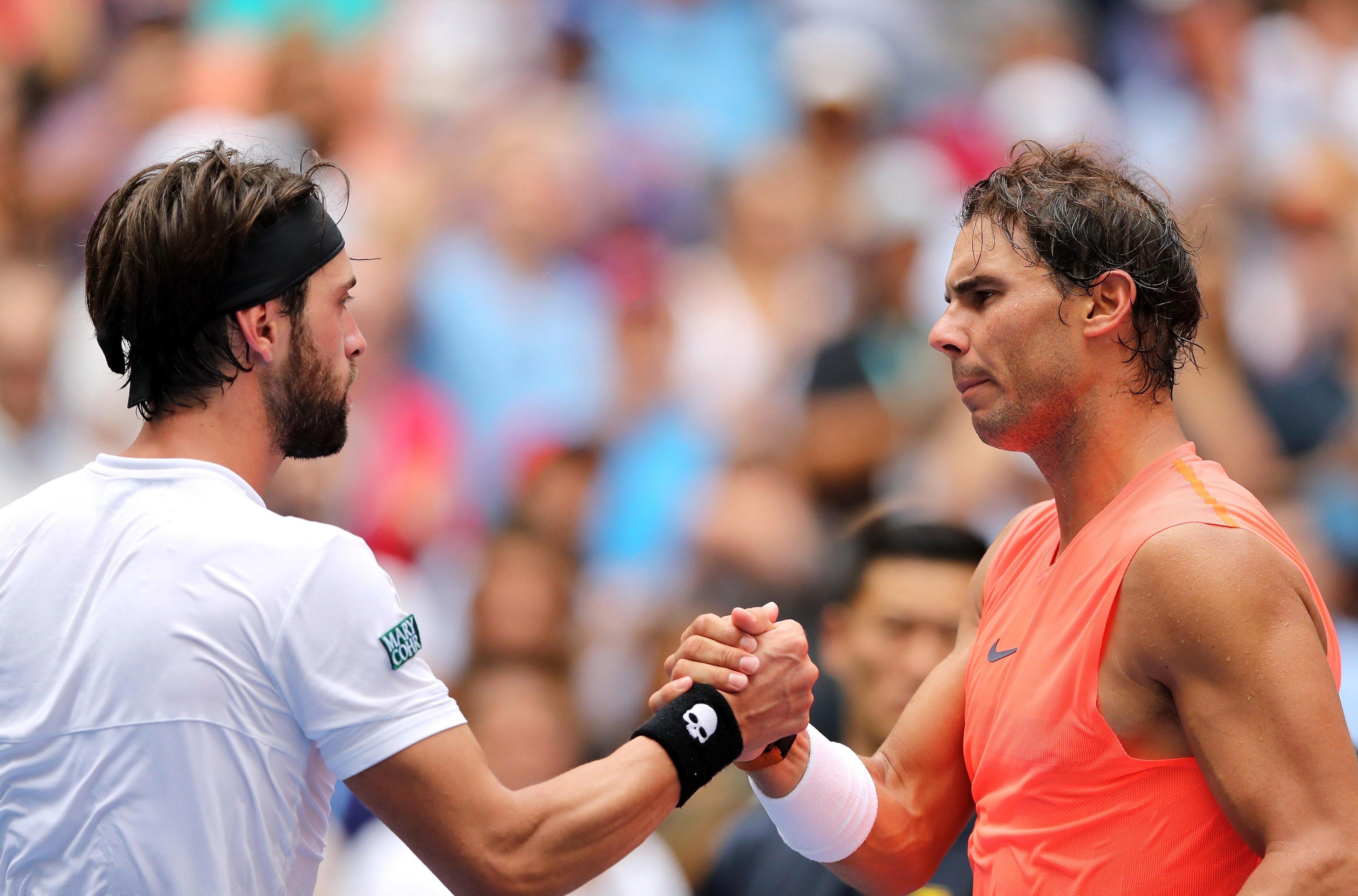 Rafael Nadal beat Nikoloz Basilashvili 6-3 6-3 6-7 6-4 in the fourth round