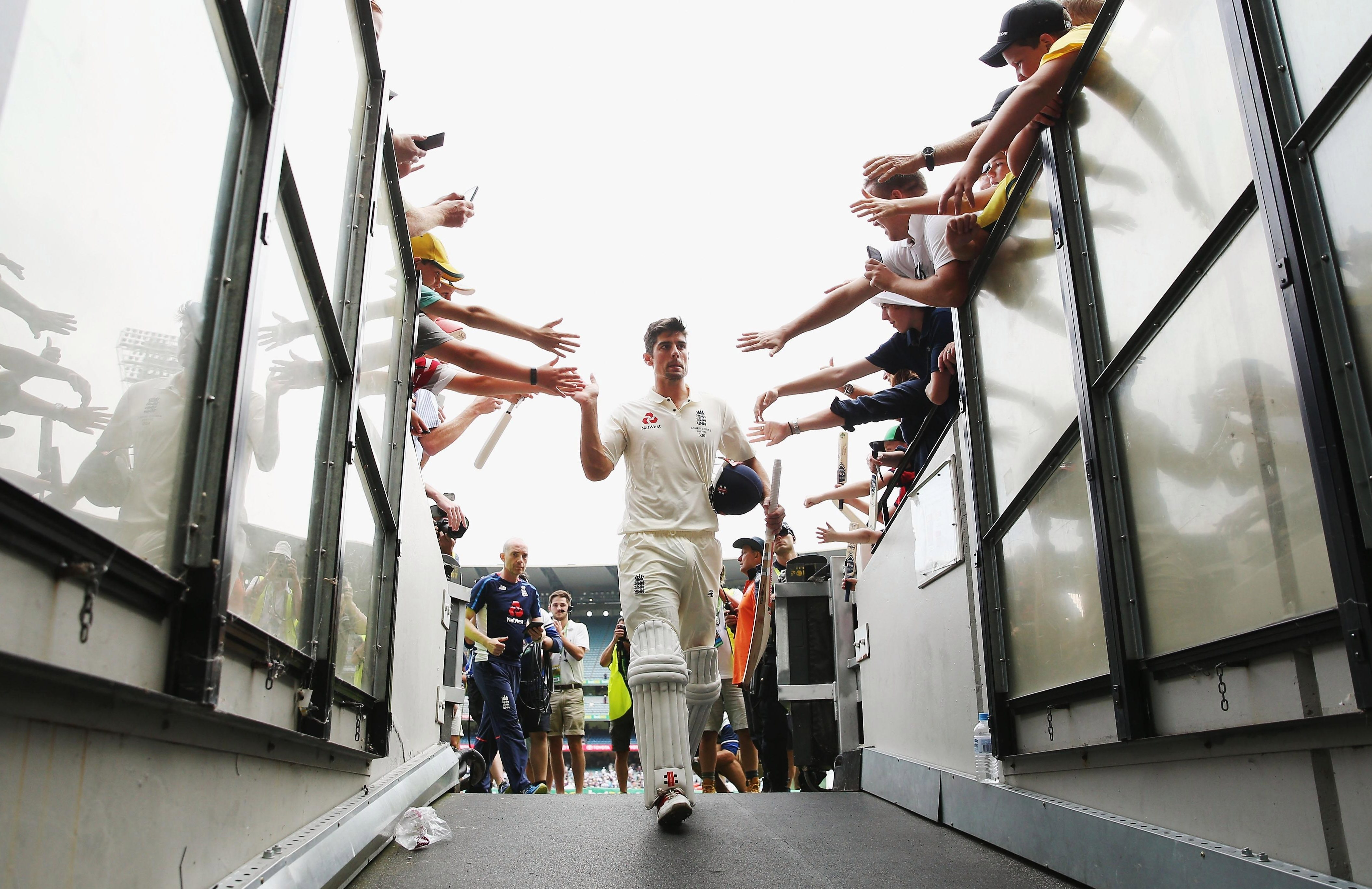 Alastair Cook of England walks off at the close of play after making 244 not out during day three of the Fourth Test in the 2017/18 Ashes series