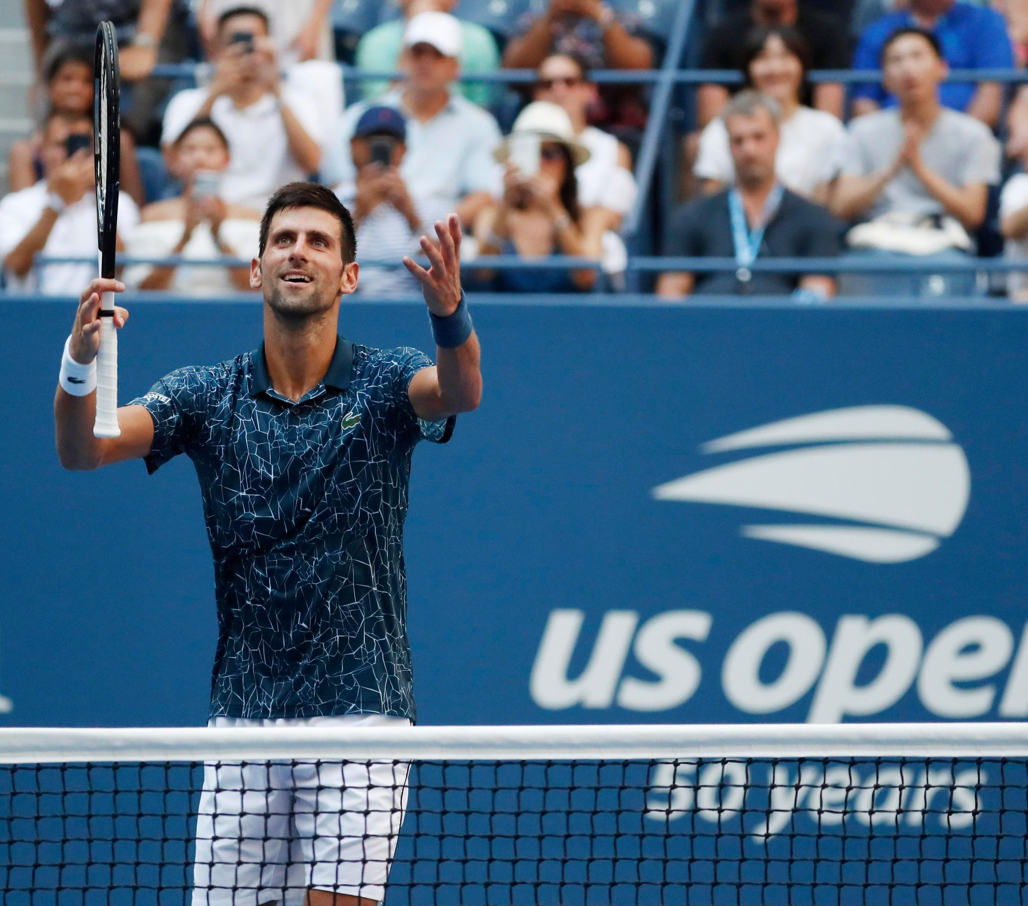 Djokovic's relief was clear to see as he celebrated the victory with the supporters