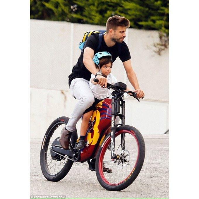 Pique on his custom-made e-bike which he has been using to get to training