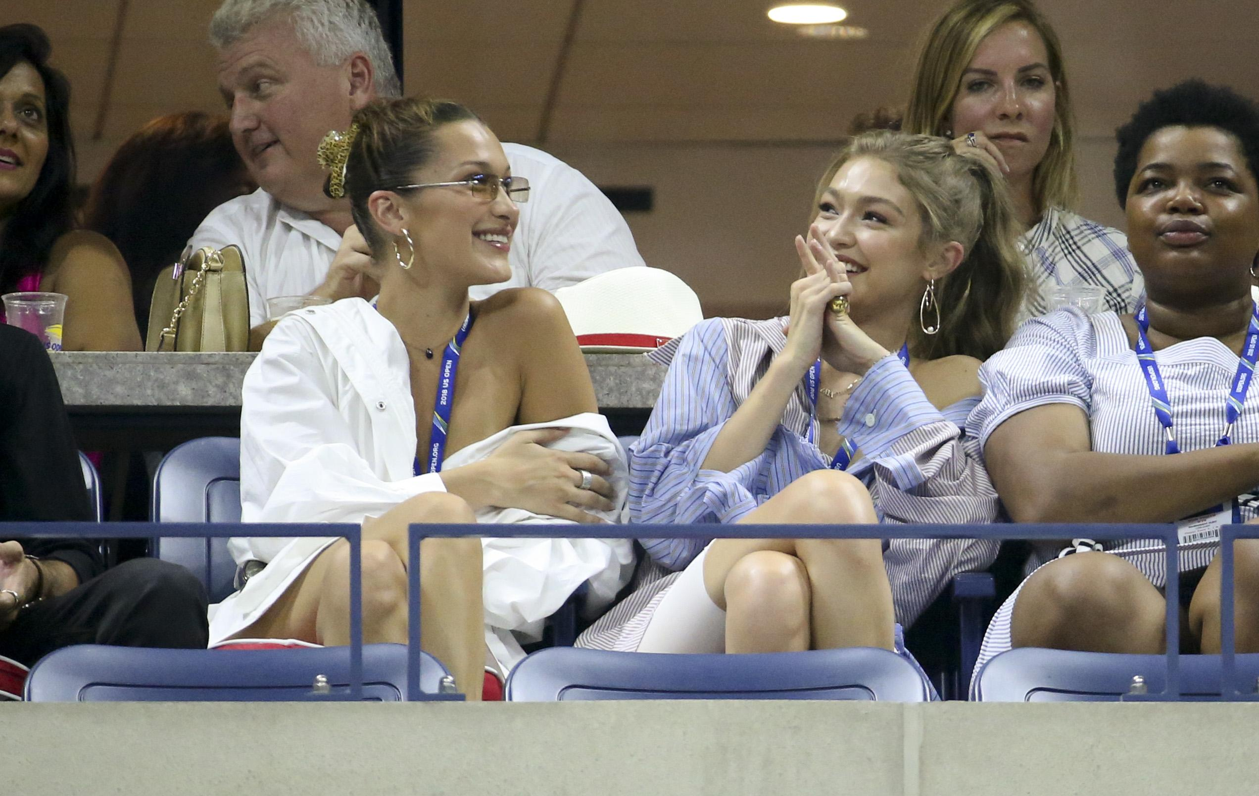 Model sisters Bella and Gigi Hadid were in the stands at the US Open