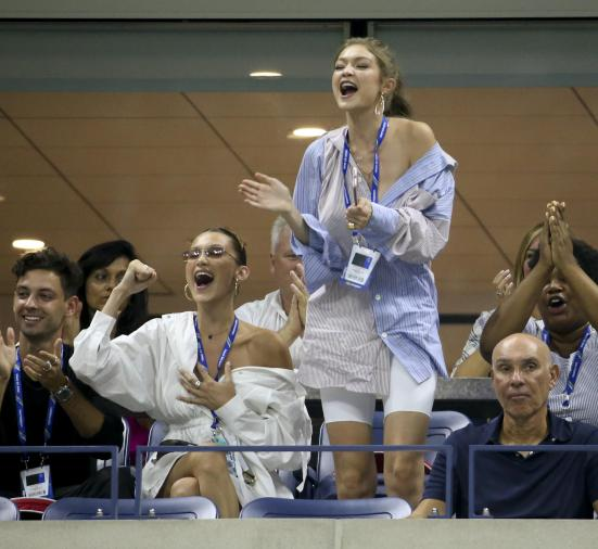 Image result for Model Sisters Bella & Gigi Hadid Cheer on Serena Williams at U.S. Open