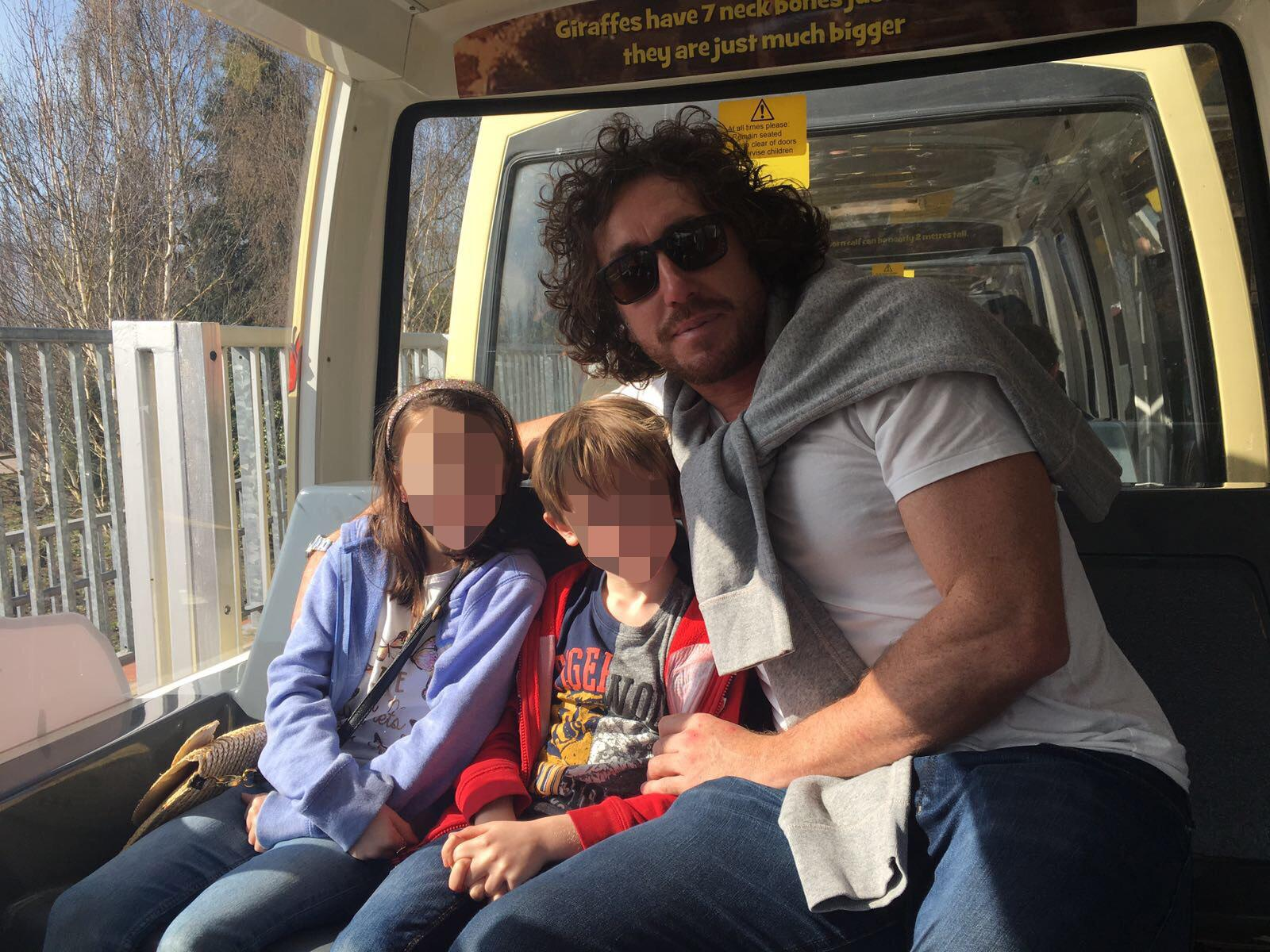 Sidebottom pictured with his two children, Indiana, 8, and Darley, 7