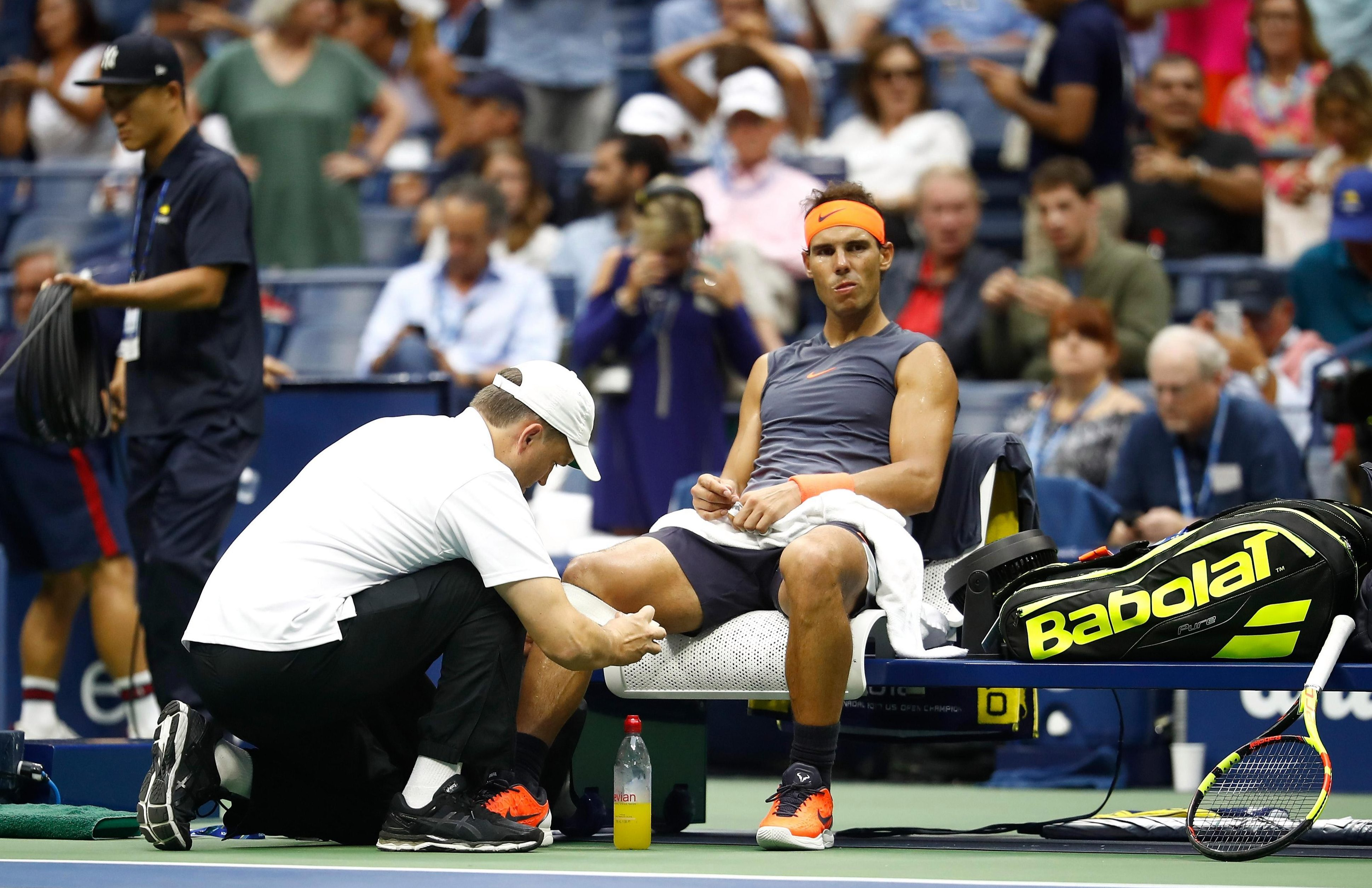 Rafael Nadal had treatment on the court but could not continue