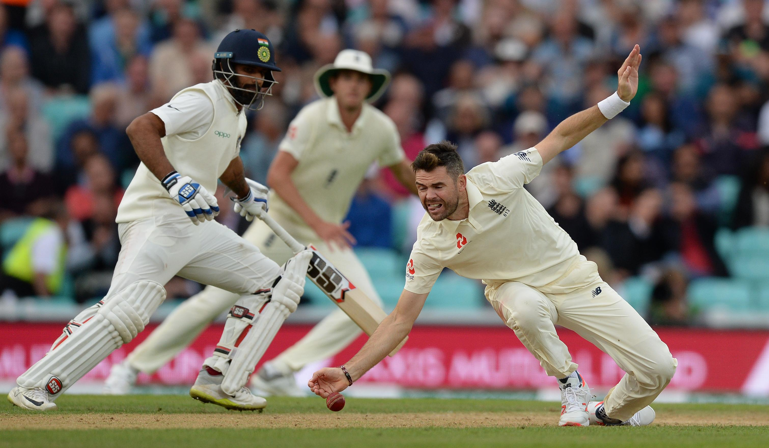 James Anderson of England stops the ball during the fifth Specsavers Test Match.