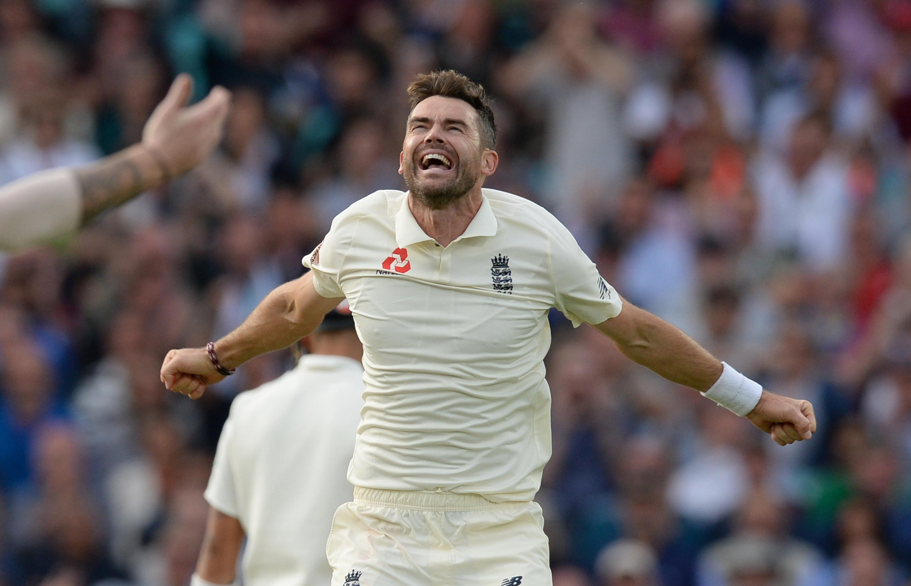 James Anderson of England celebrates after dismissing Cheteshwar Pujara during the fifth Specsavers Test Match between England and India at The Kia Oval.
