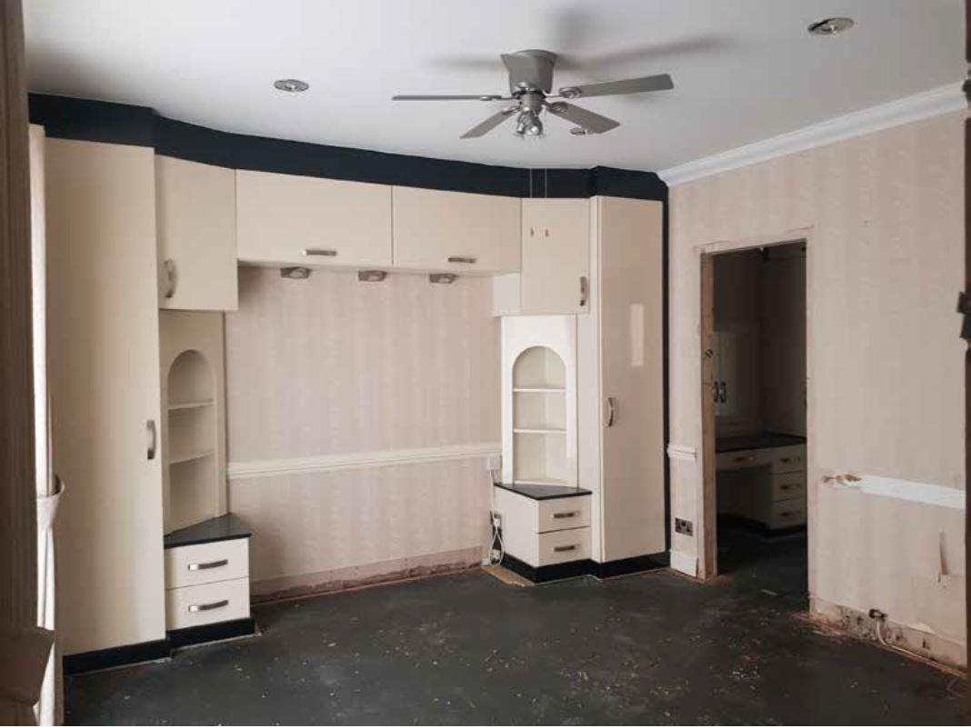 This bedroom was totally gutted in the revamp