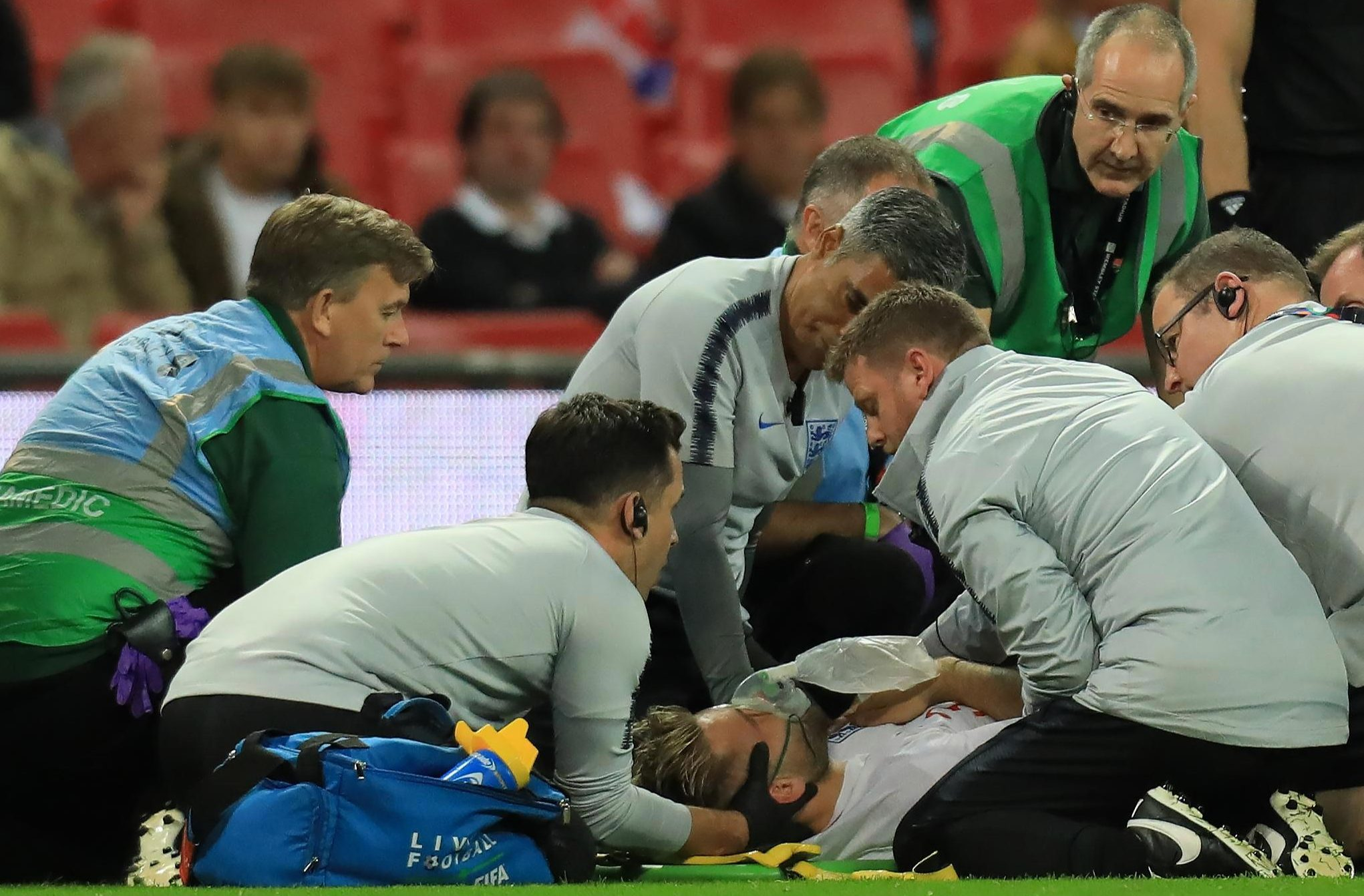 Medics spent many minutes stabilising Luke Shaw at Wembley after his fall