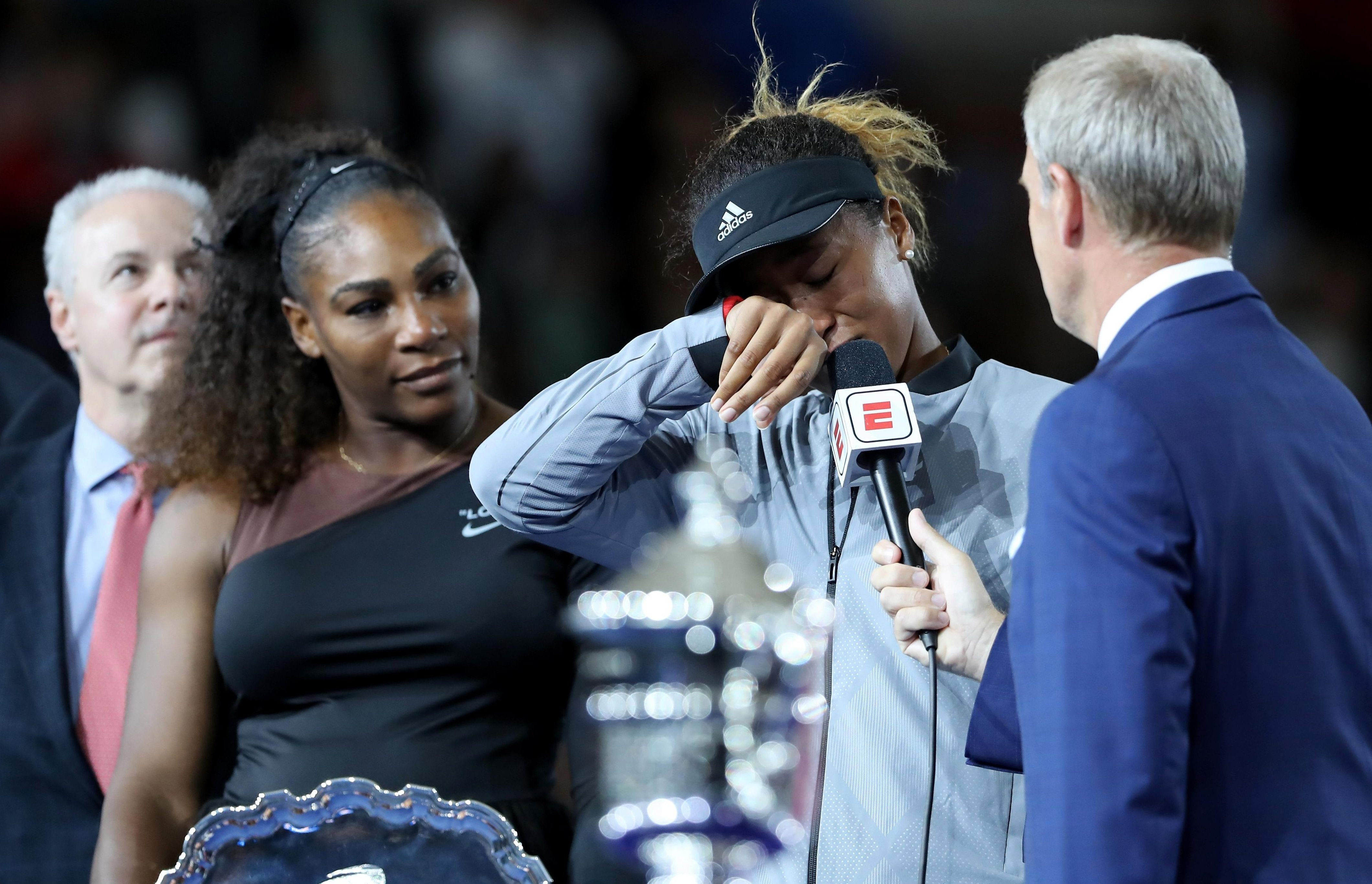 Emotional Naomi Osaka wipes her eyes after winning the US Open
