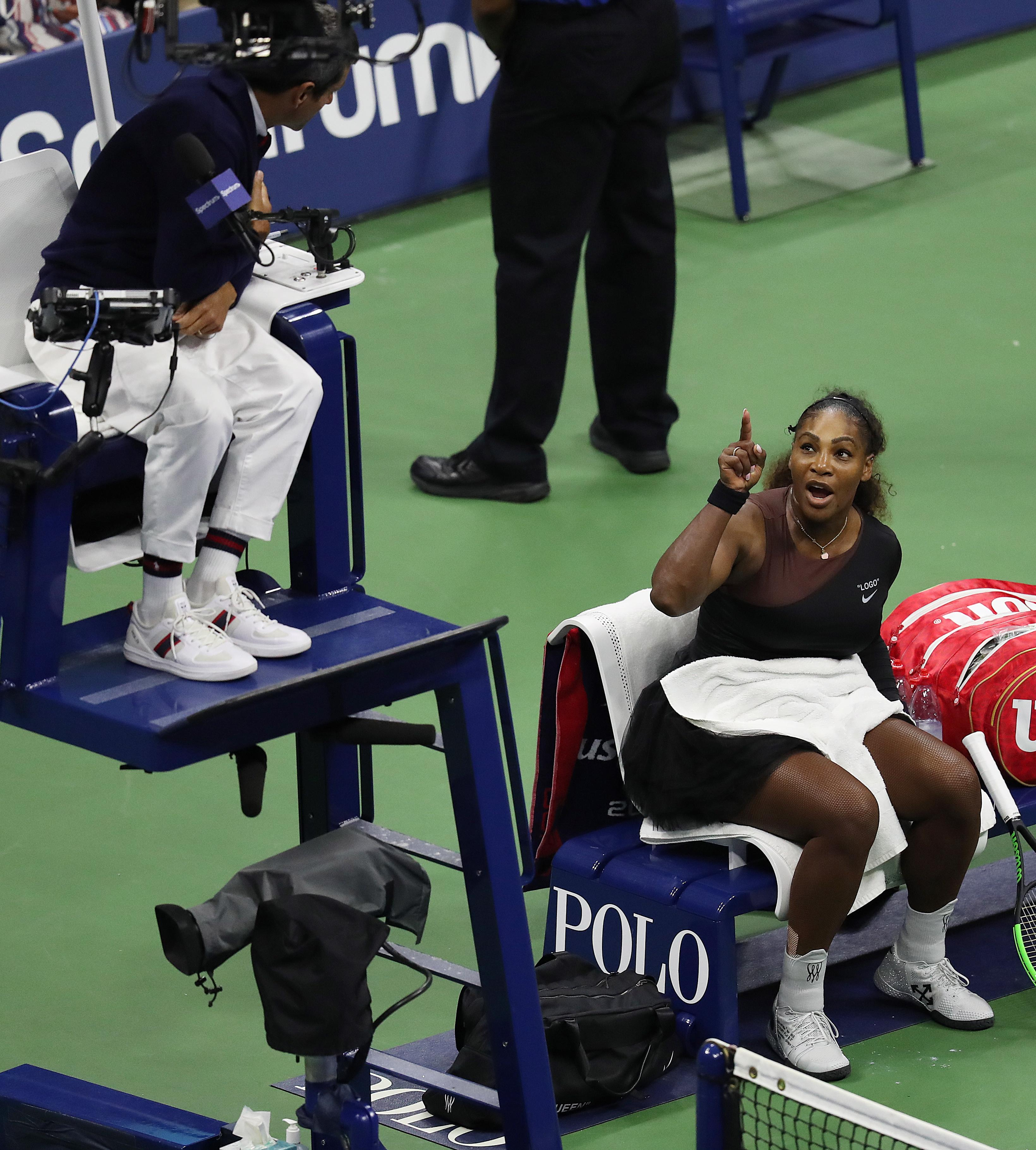 Williams rages at the chair umpire during her US Open final defeat
