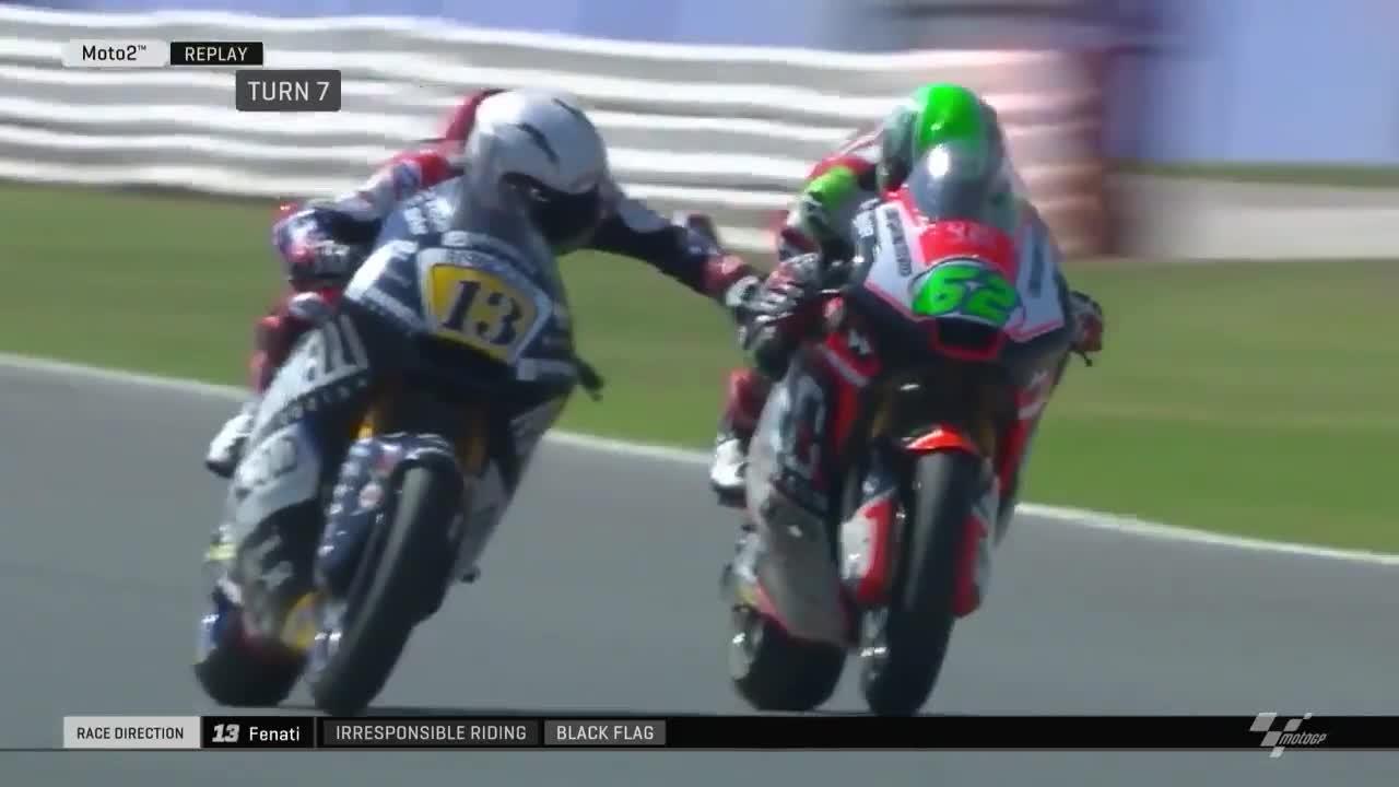 Italian rider Romano Fenati grabbed the brakes of rival Stefano Manzi during a race
