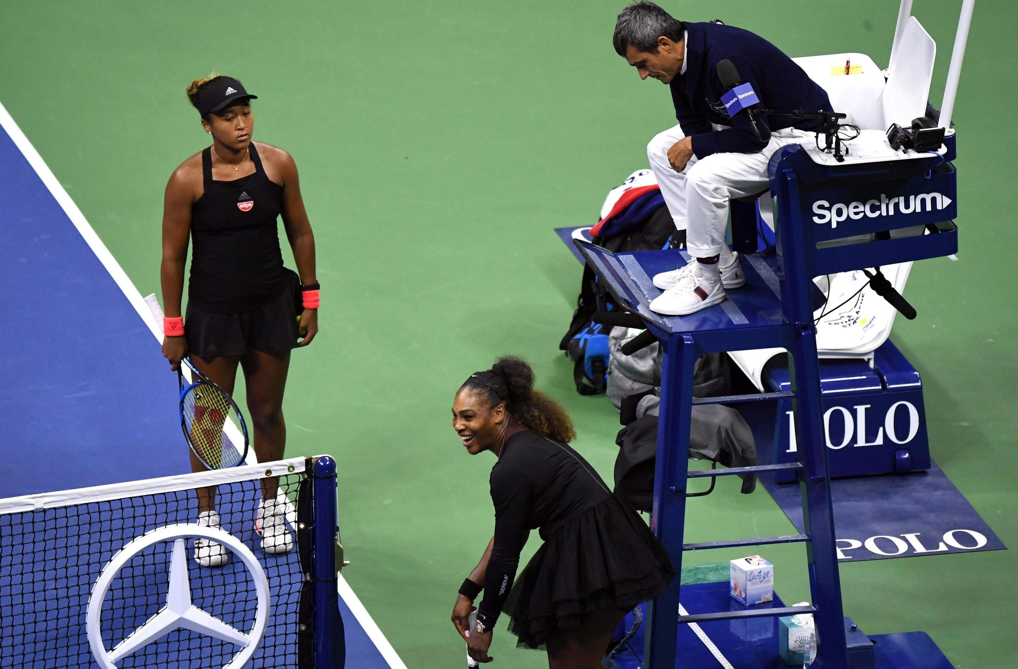 Eventual winner Naomi Osaka looks on stunned at Serena Williams' dispute