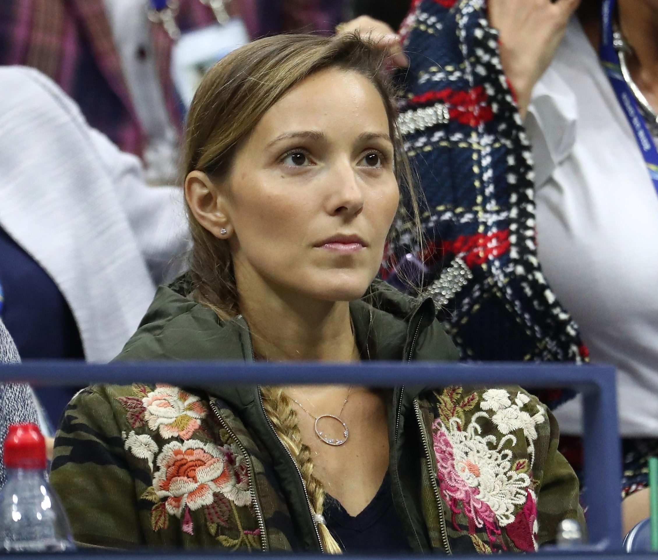 Novak Djokovic's wife Jelena anxiously watches on from the stands at US Open final