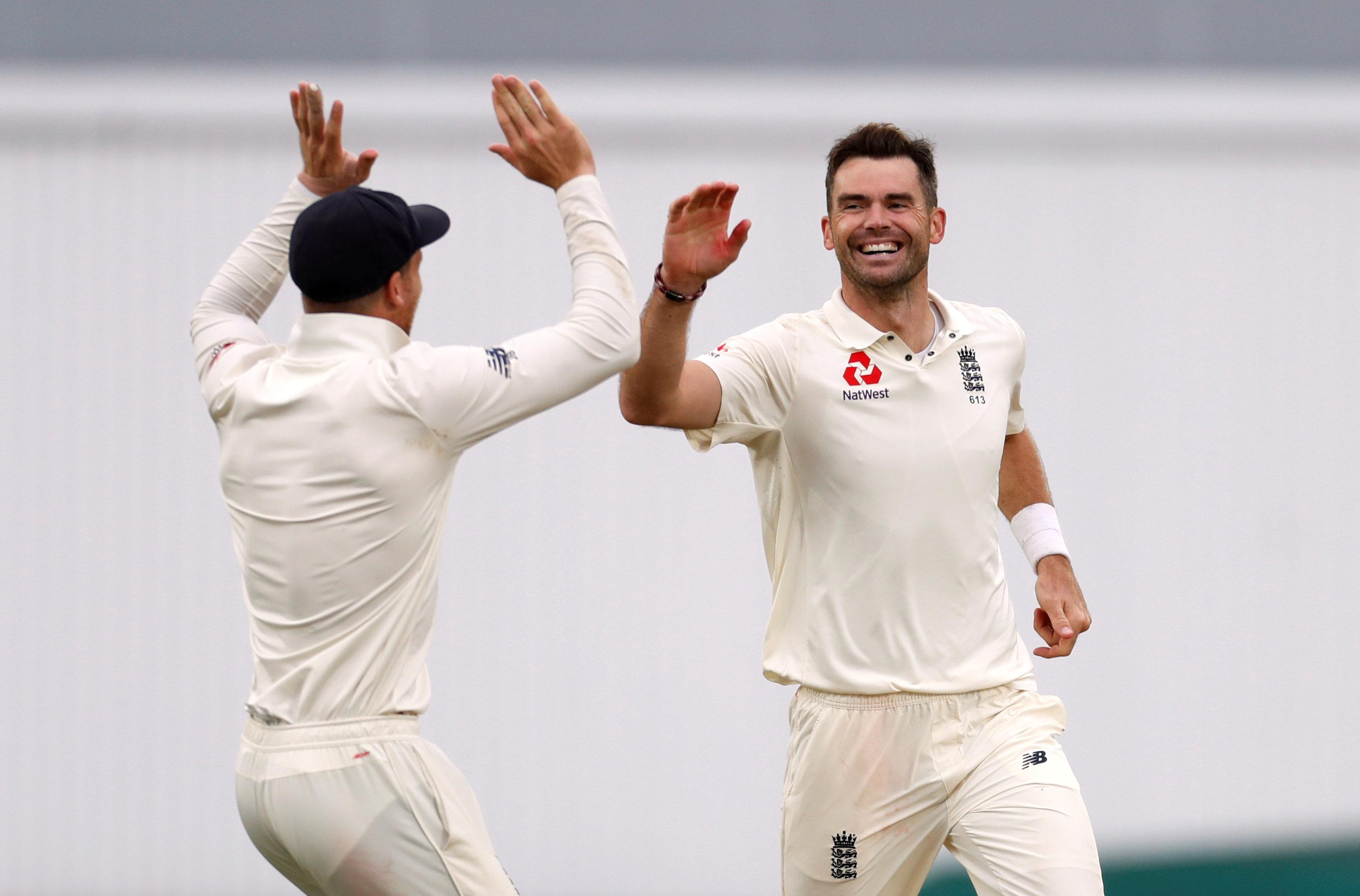James Anderson celebrates after breaking the record
