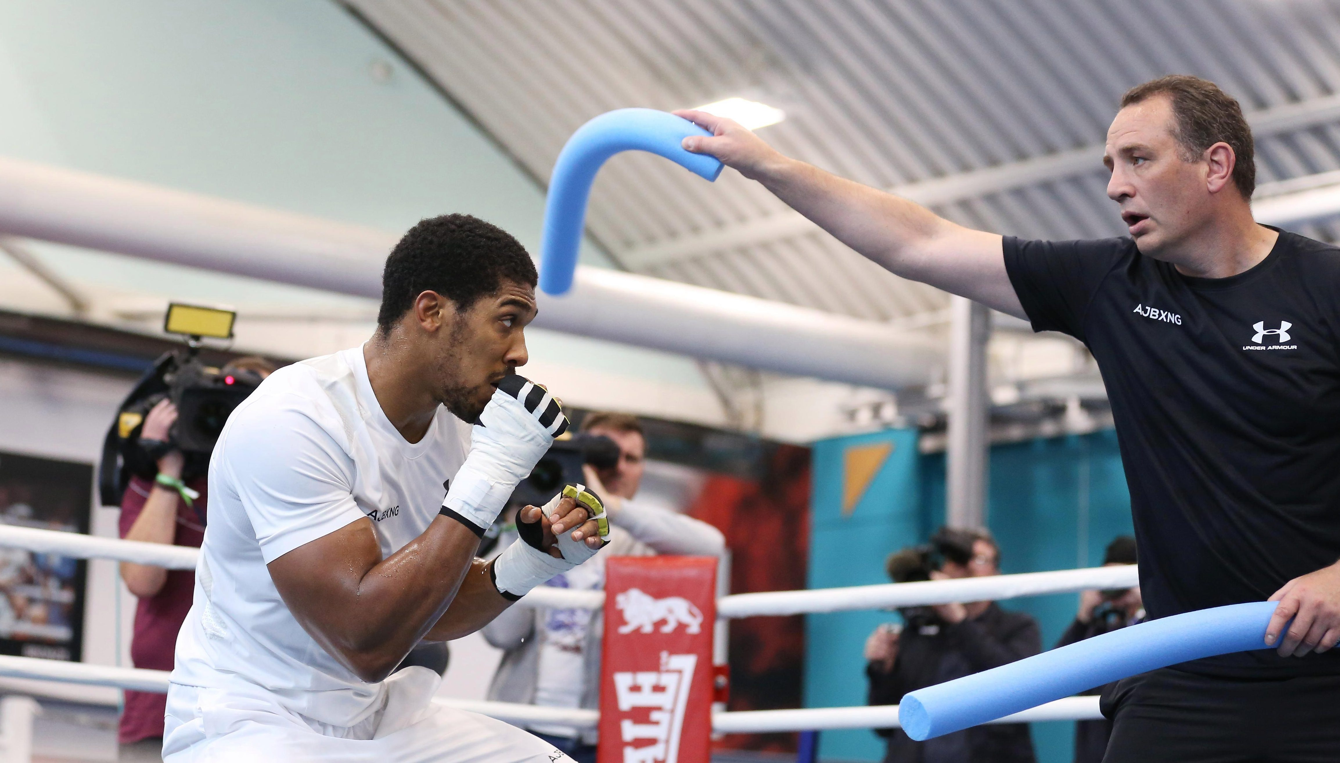 Joshua bobs and weave at a training session in Sheffield on Wednesday