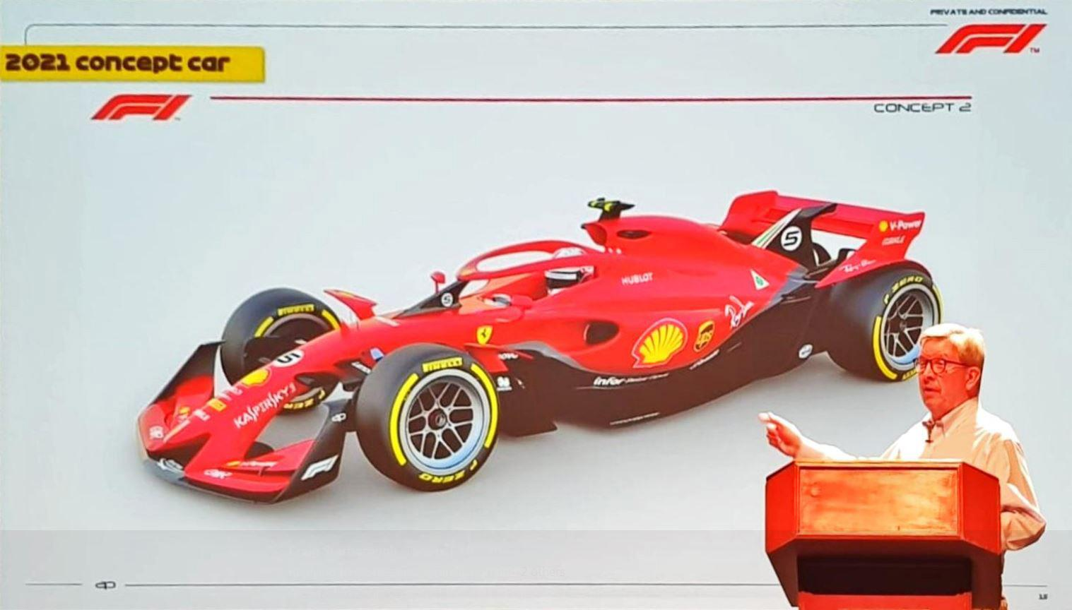 The concept F1 car for the 2021 season complete with bigger wheels and a smaller rear wing