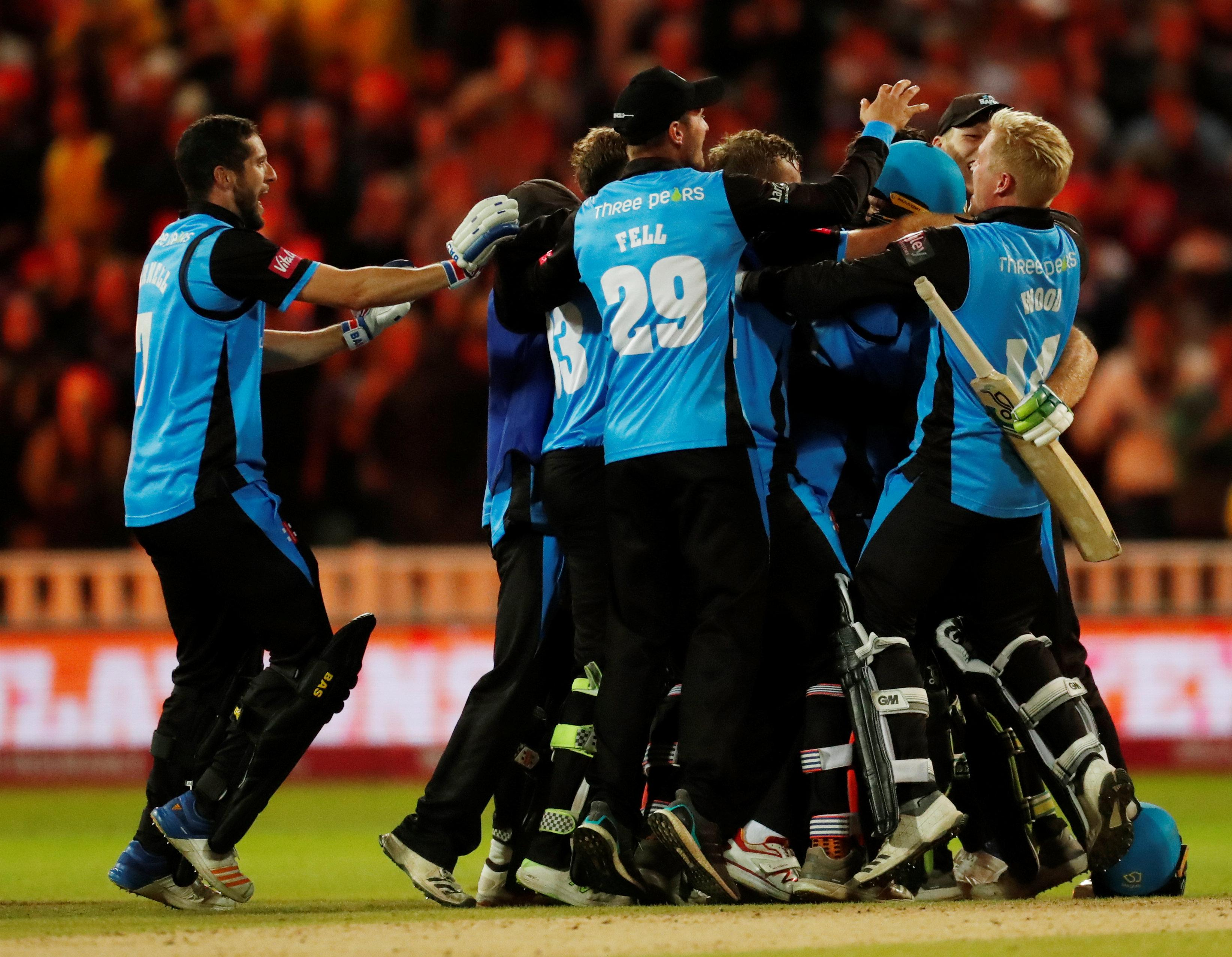 Worcestershire celebrate after beating Sussex at Edgbaston