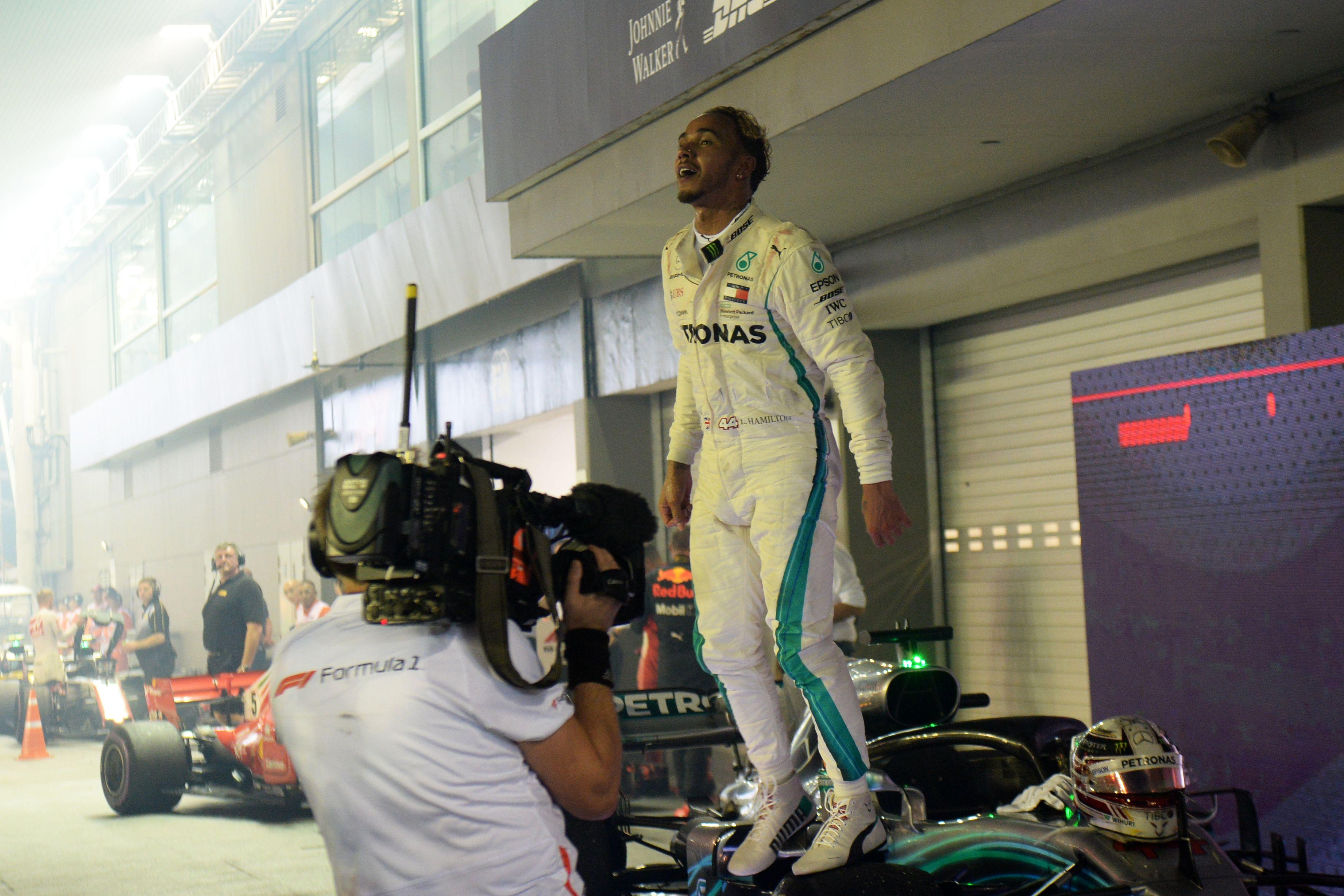 Lewis Hamilton sits aloft 40 points clear at the top of the world title race after victory in Singapore