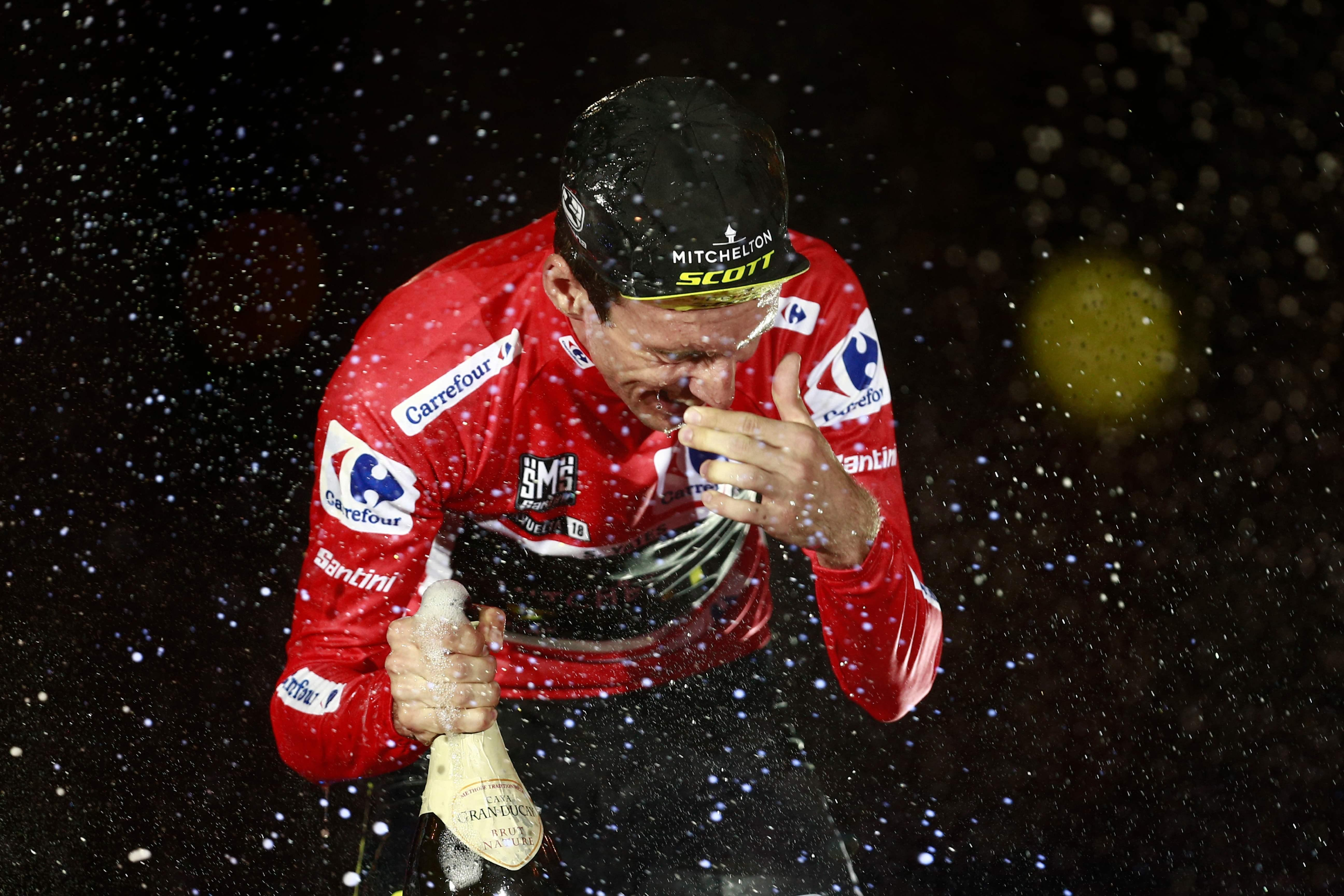 Yates soaks himself after spraying champagne everywhere