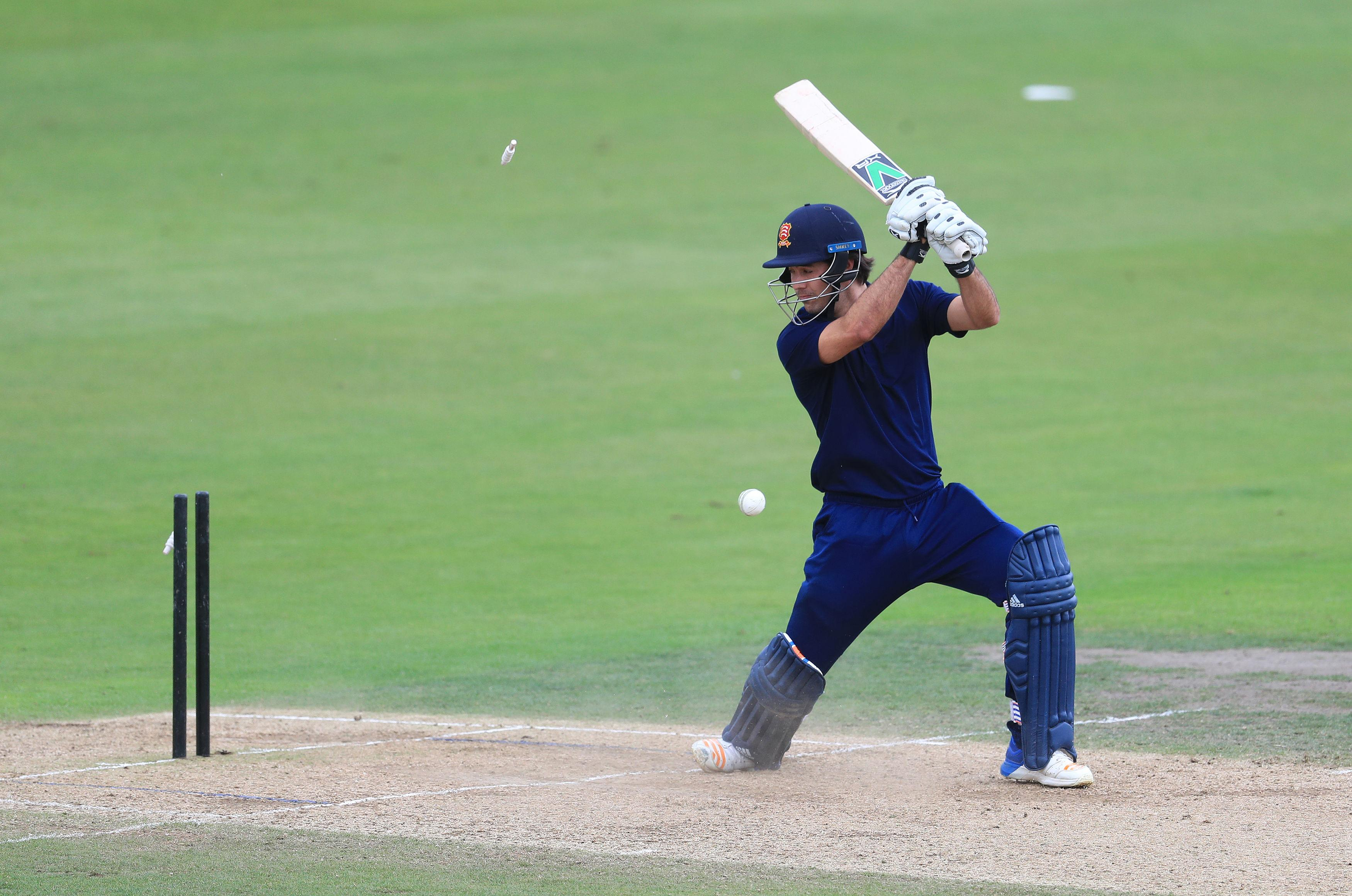 South's Matt Dixon is clean bowled during the 100 Ball Trial match at Trent Bridge