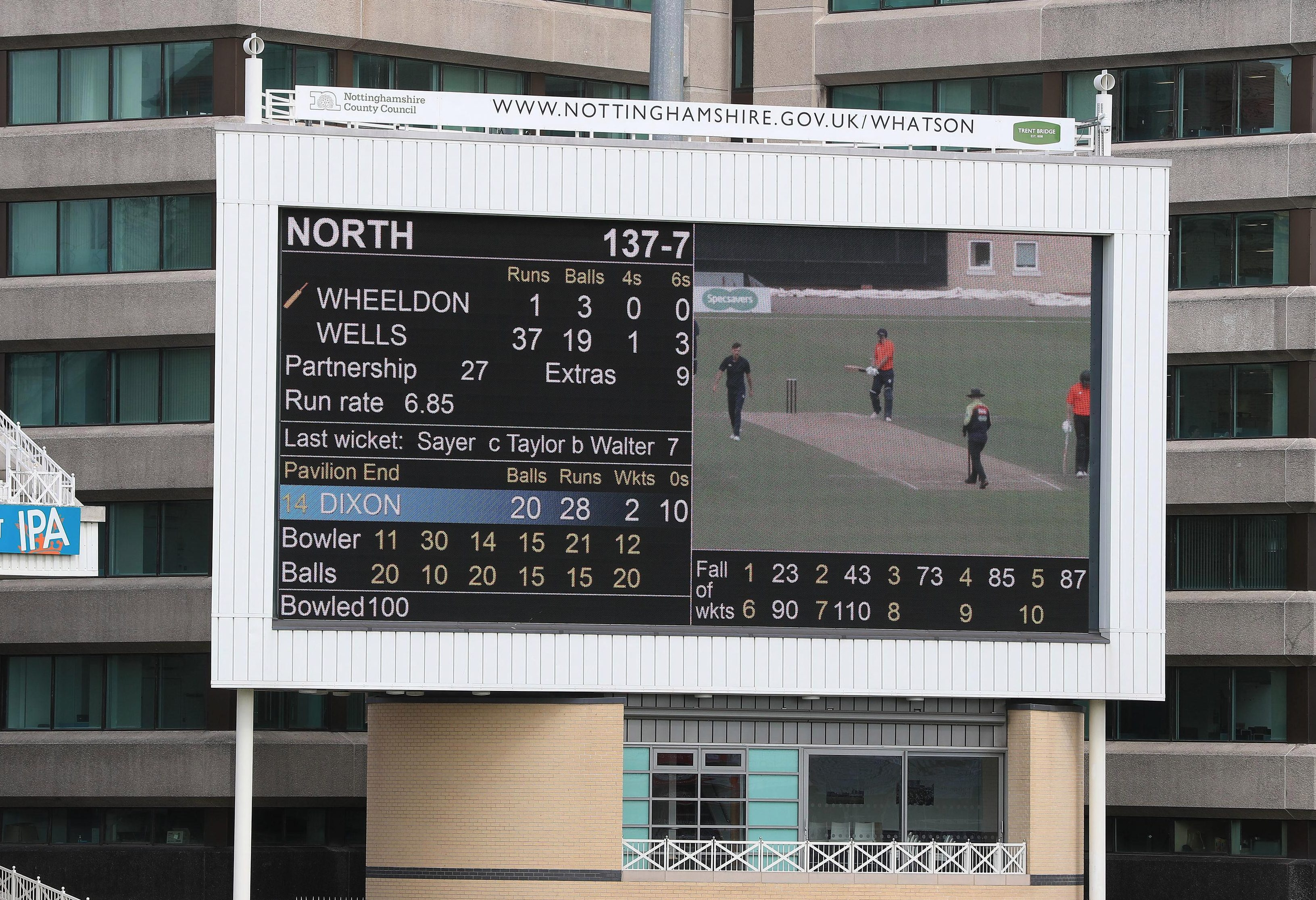 The scoreboard after the first innings, as the North compiled 137-7 at Trent Bridge