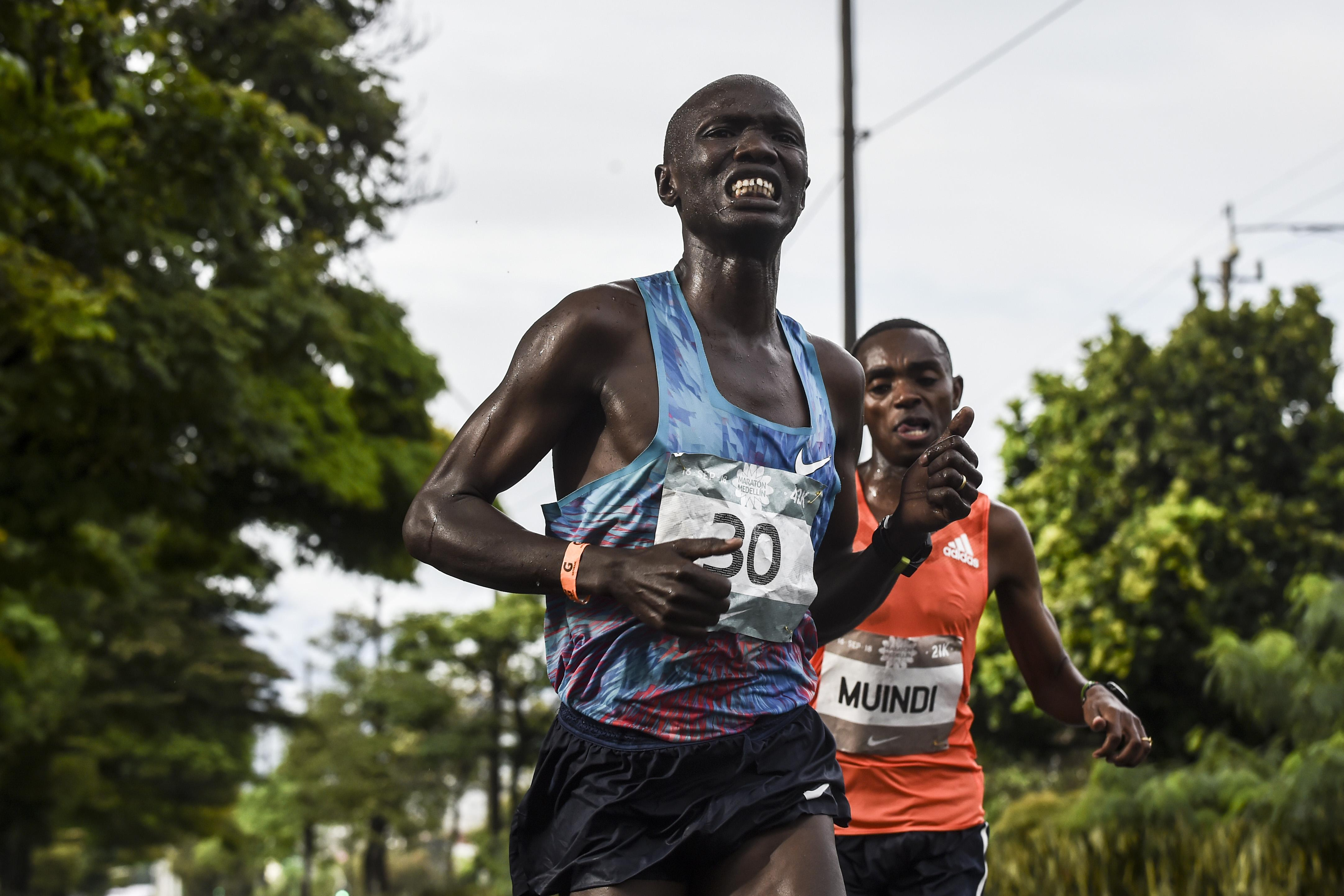 Joseph Kiprono was leading the race before he was cruelly put off his stride