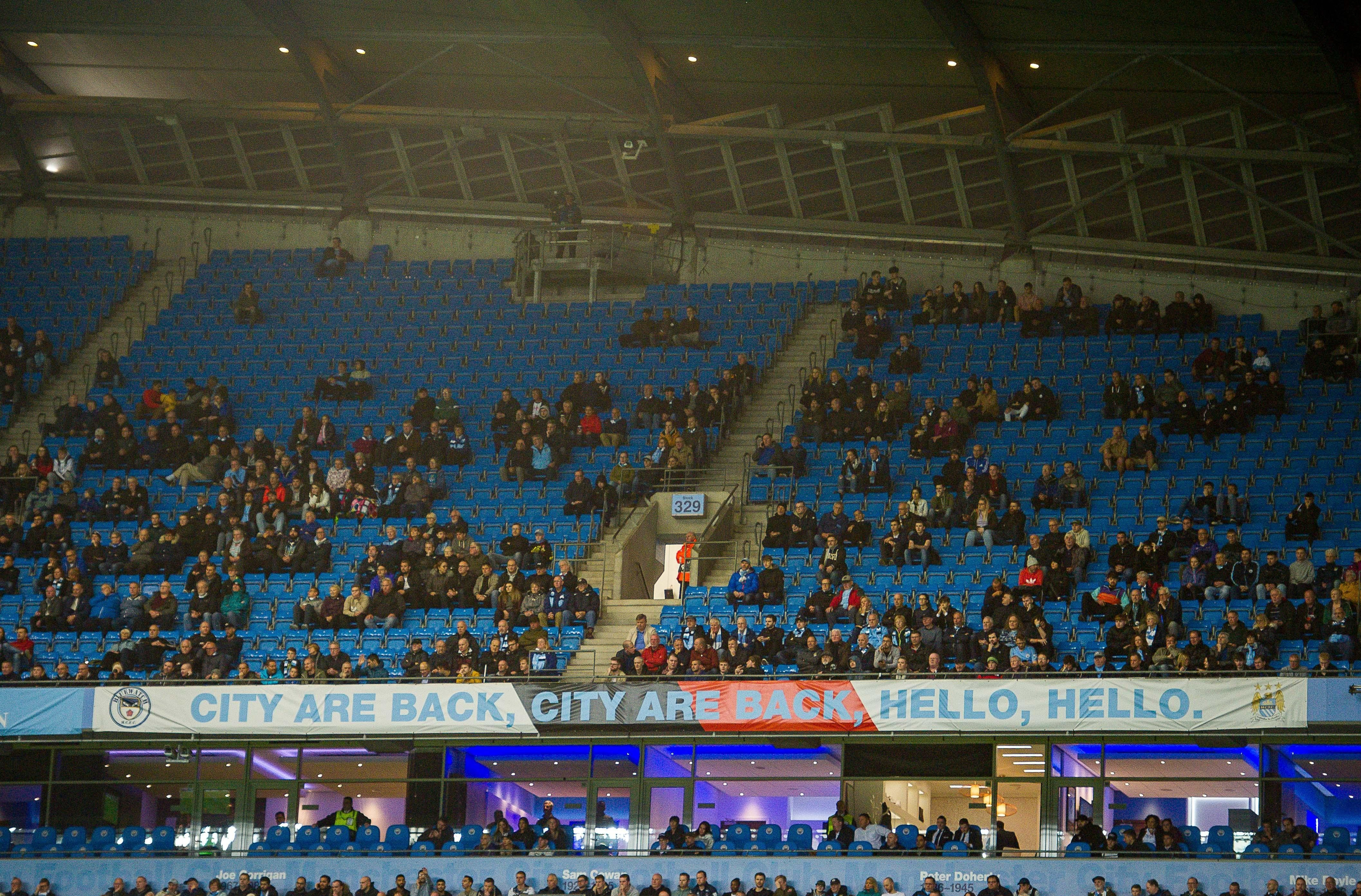 There were plenty of empty seats as Man City lost to Lyon